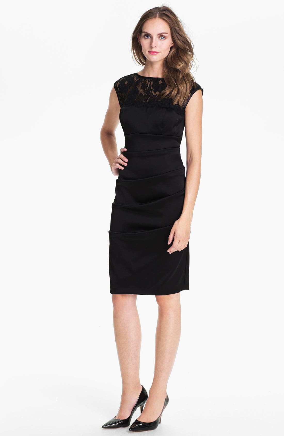 Alternate Image 1 Selected - Xscape Lace Yoke Satin Sheath Dress