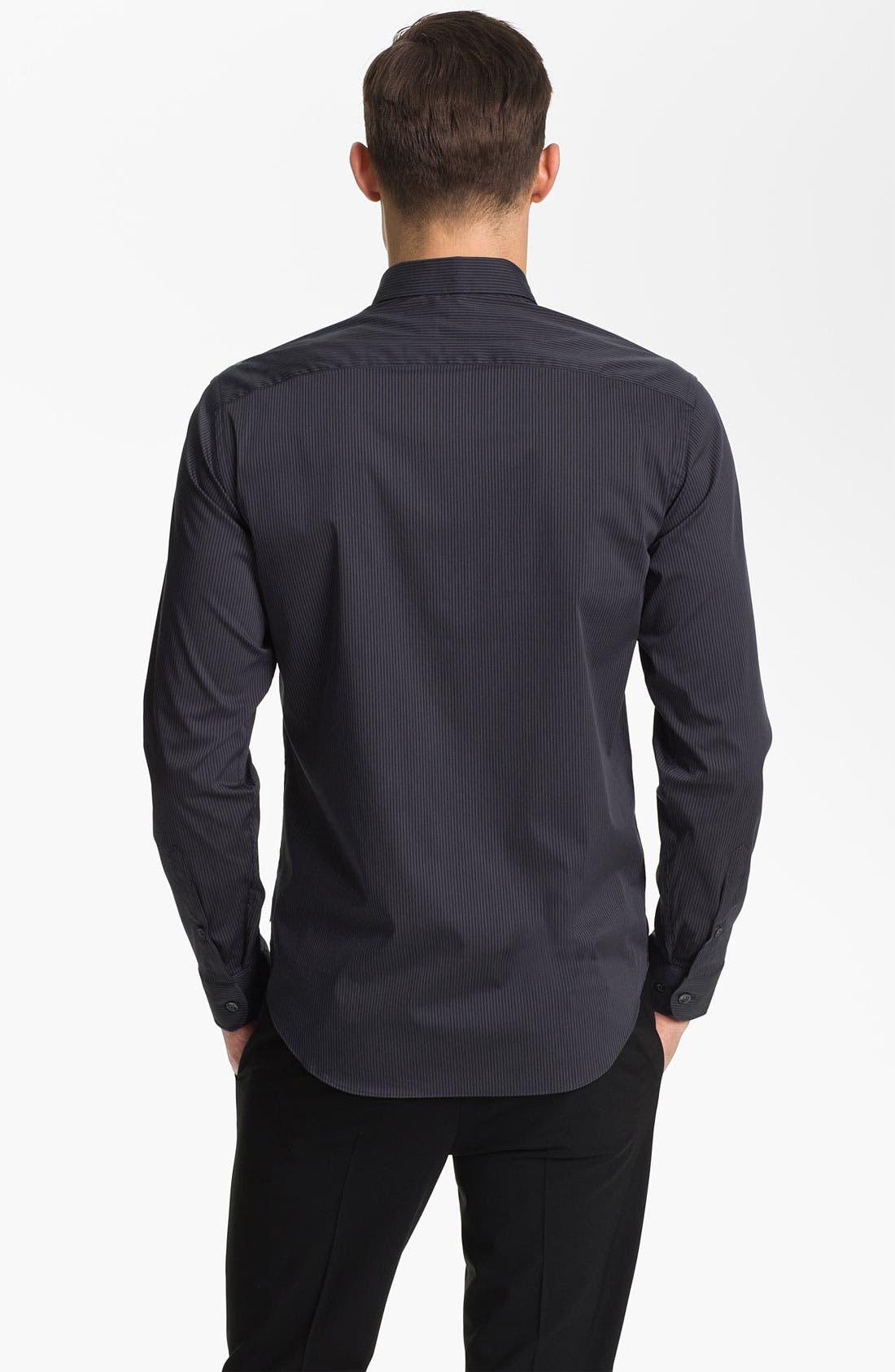 Alternate Image 2  - Armani Collezioni Tonal Stripe Stretch Sport Shirt