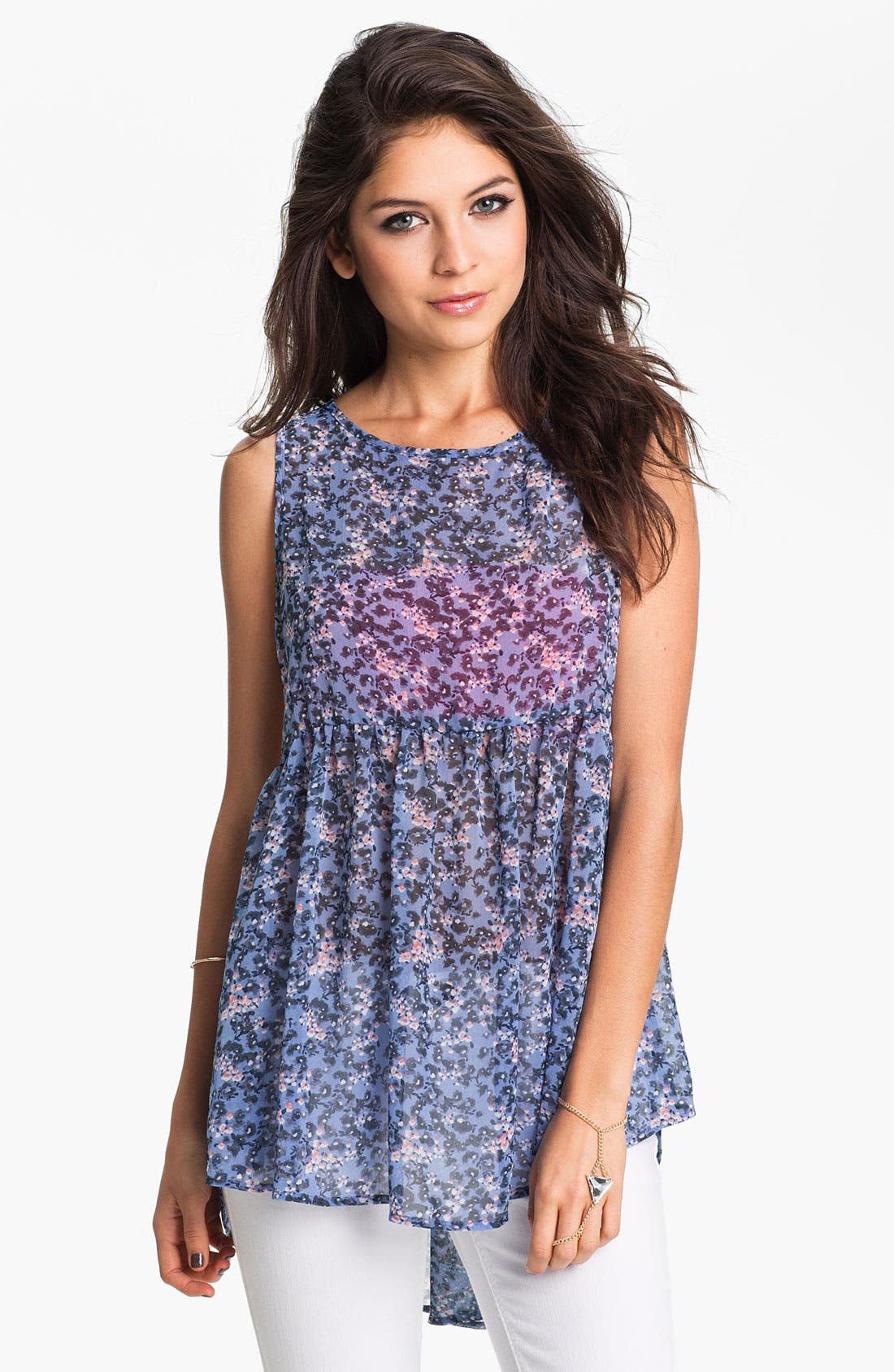 Alternate Image 1 Selected - h.i.p. Lace Back Floral Chiffon Babydoll Tunic (Juniors)