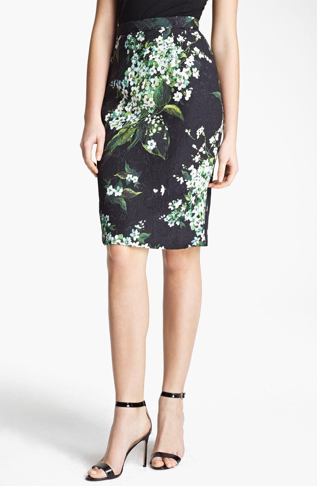 Main Image - Dolce&Gabbana Lily Print Brocade Skirt