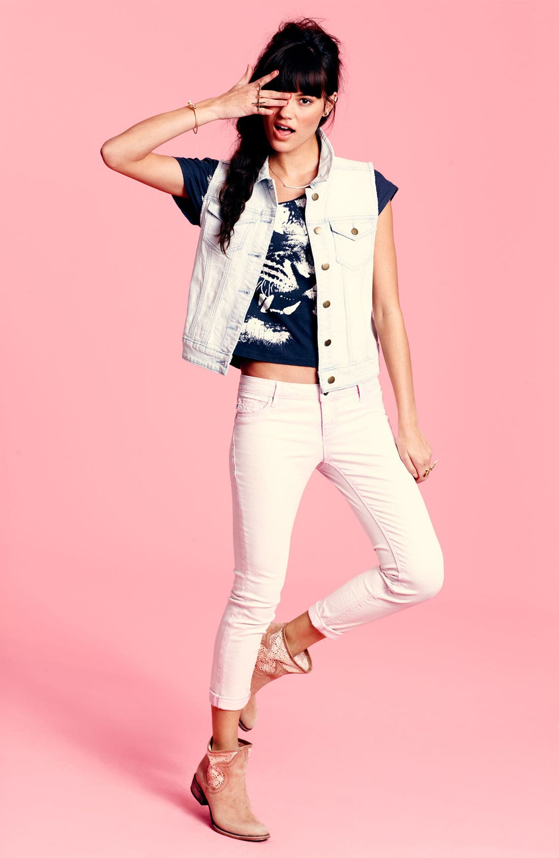 Alternate Image 1 Selected - Rubbish® Vest, Workshop Tee & Vigoss Jeans