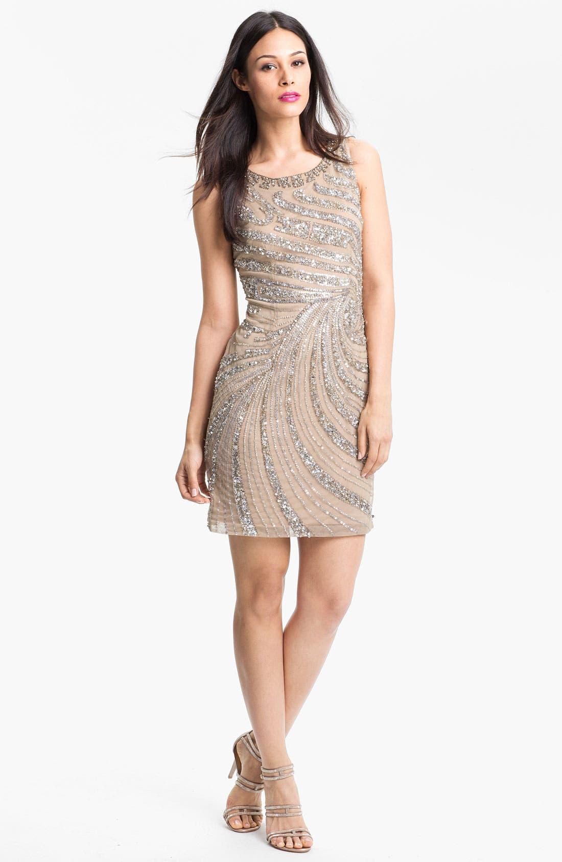 Main Image - Adrianna Papell Embellished Mesh Dress