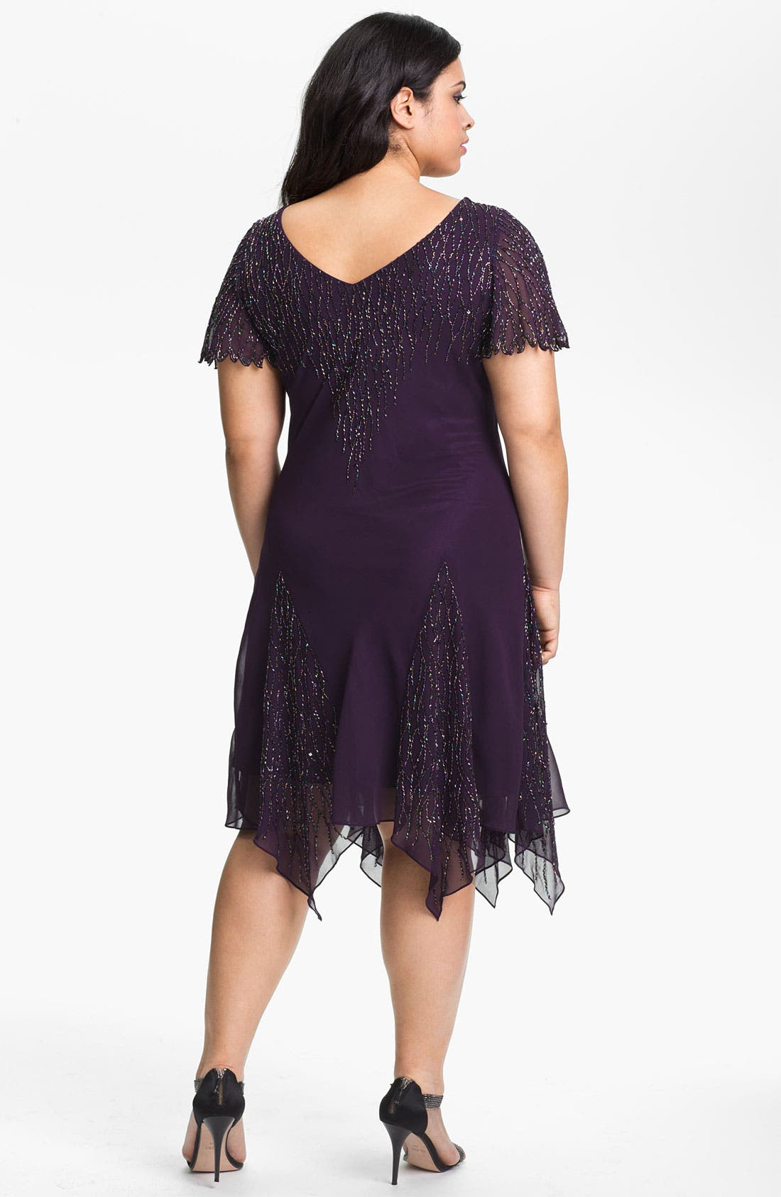 Alternate Image 2  - J Kara Beaded Godet Dress (Plus Size)