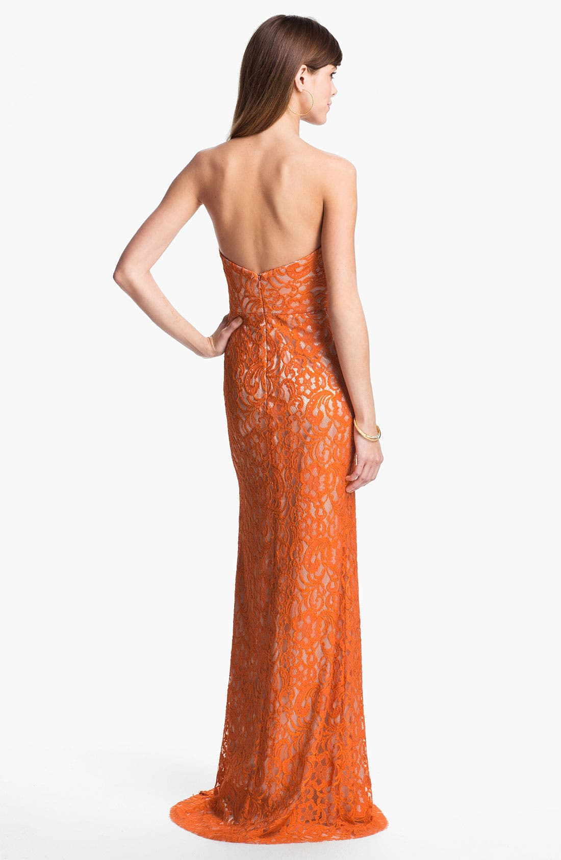 Alternate Image 2  - Dalia MacPhee Strapless Lace Gown
