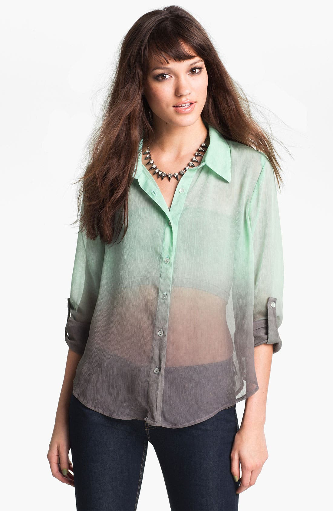 Main Image - Living Doll Ombré Chiffon Shirt