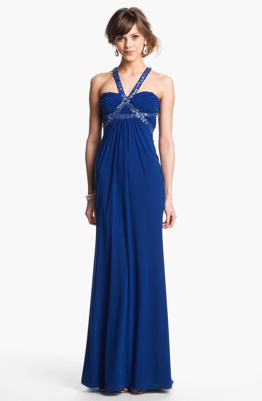 Alternate Image 1 Selected - Hailey Logan Embellished Harness Gown (Juniors) (Online Only)