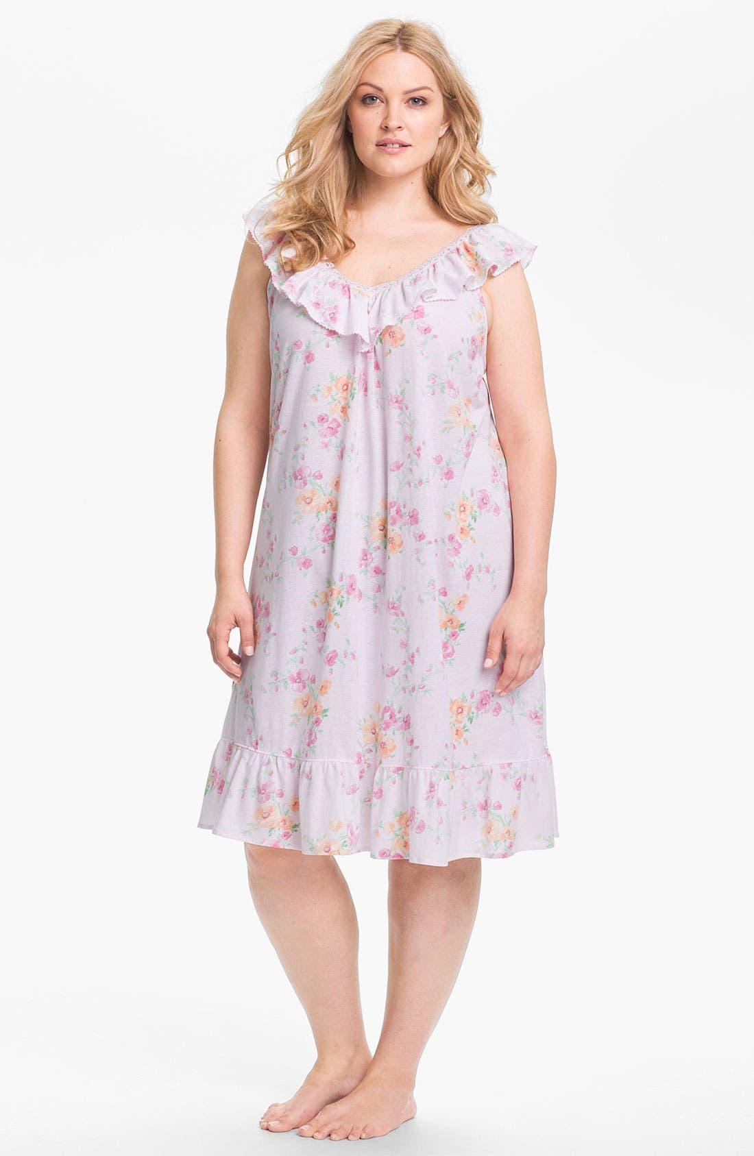 Alternate Image 1 Selected - Lauren Ralph Lauren Sleepwear Short Ruffle Nightgown (Plus)