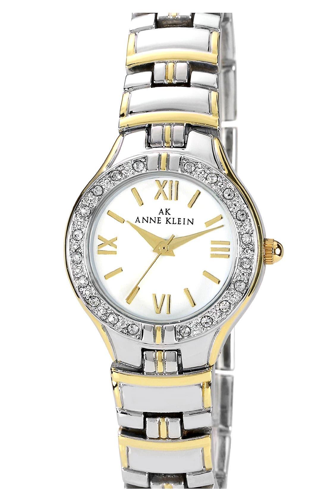 Main Image - Anne Klein Crystal Bezel Two Tone Bracelet Watch