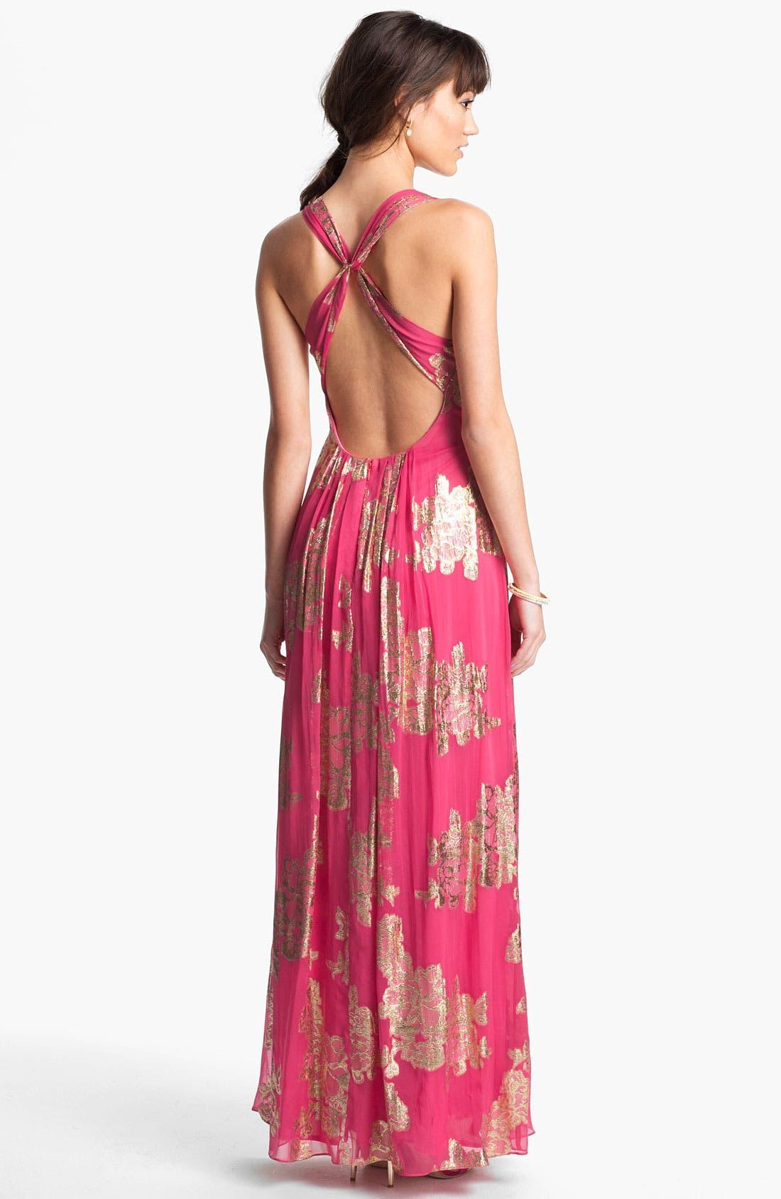 Alternate Image 2  - Xscape Embellished Metallic Chiffon Gown