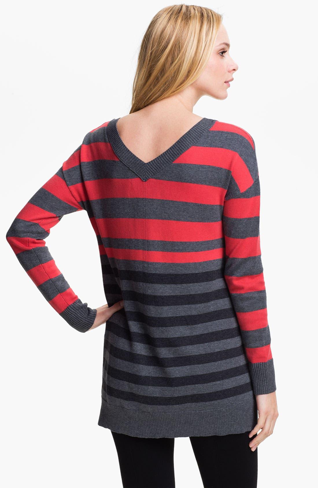 Alternate Image 2  - Caslon Double V-Neck Tunic Sweater (Petite)
