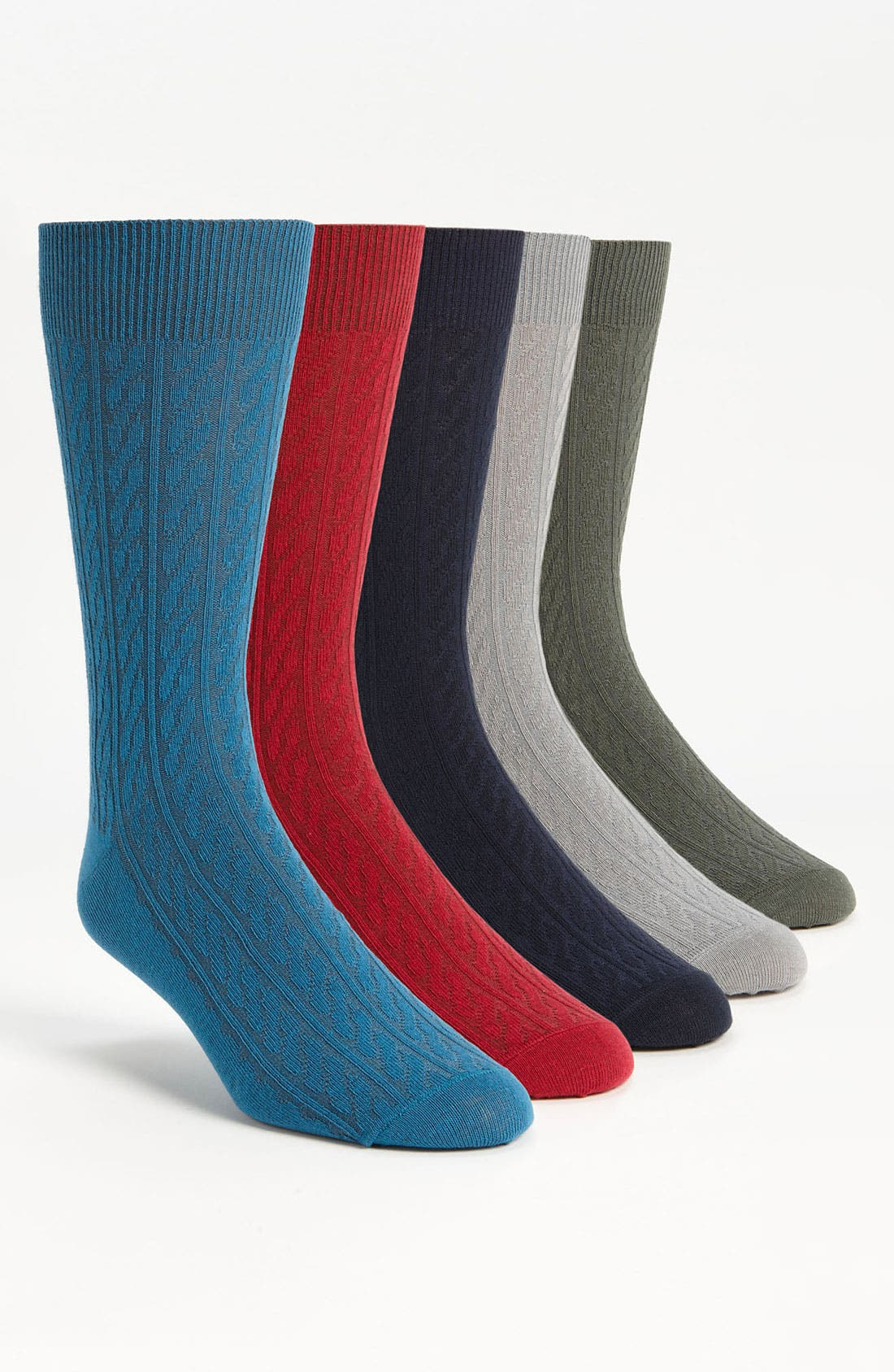 Alternate Image 1 Selected - Topman Cable Knit Socks (5-Pack)