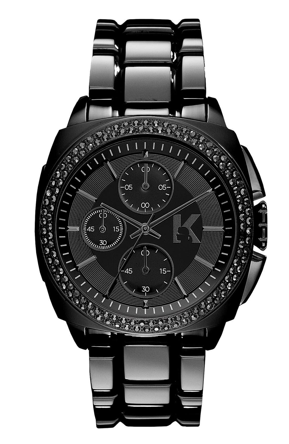 Alternate Image 1 Selected - KARL LAGERFELD 'Keeper' Crystal Bezel Bracelet Watch, 40mm