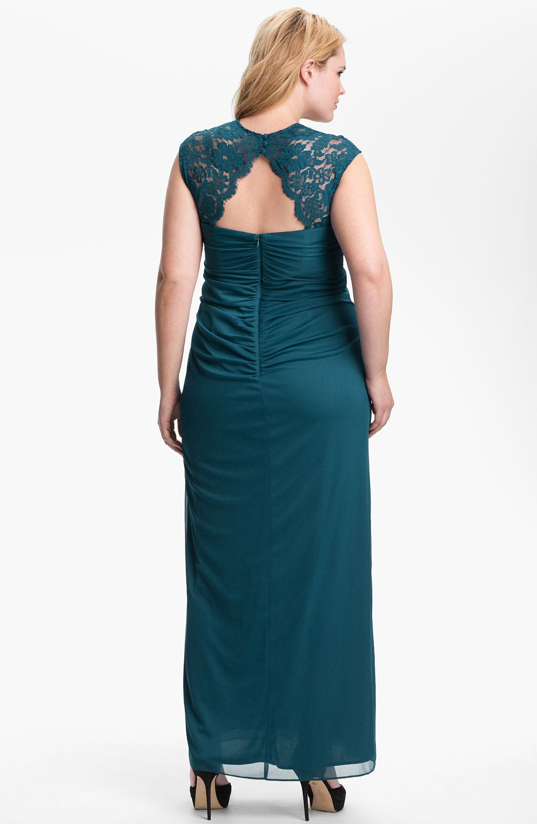 Alternate Image 2  - Xscape Lace Shoulder Gown (Plus Size) (Online Only)
