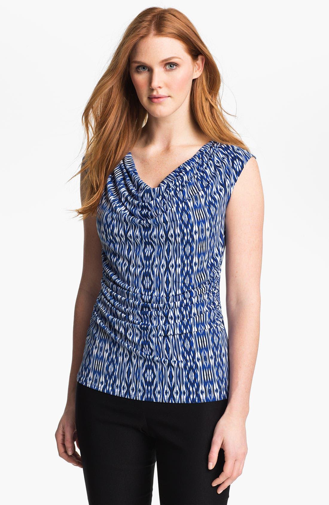 Alternate Image 1 Selected - Chaus Drape Neck Ikat Print Top