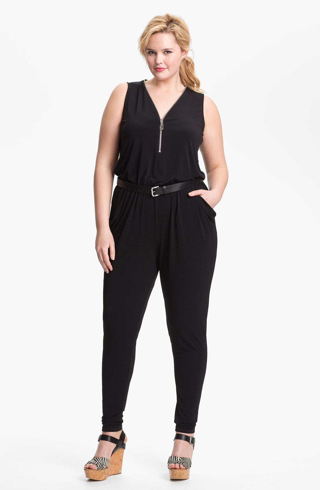 Alternate Image 1 Selected - MICHAEL Michael Kors Zip Front Jumpsuit (Plus) (Online Only)
