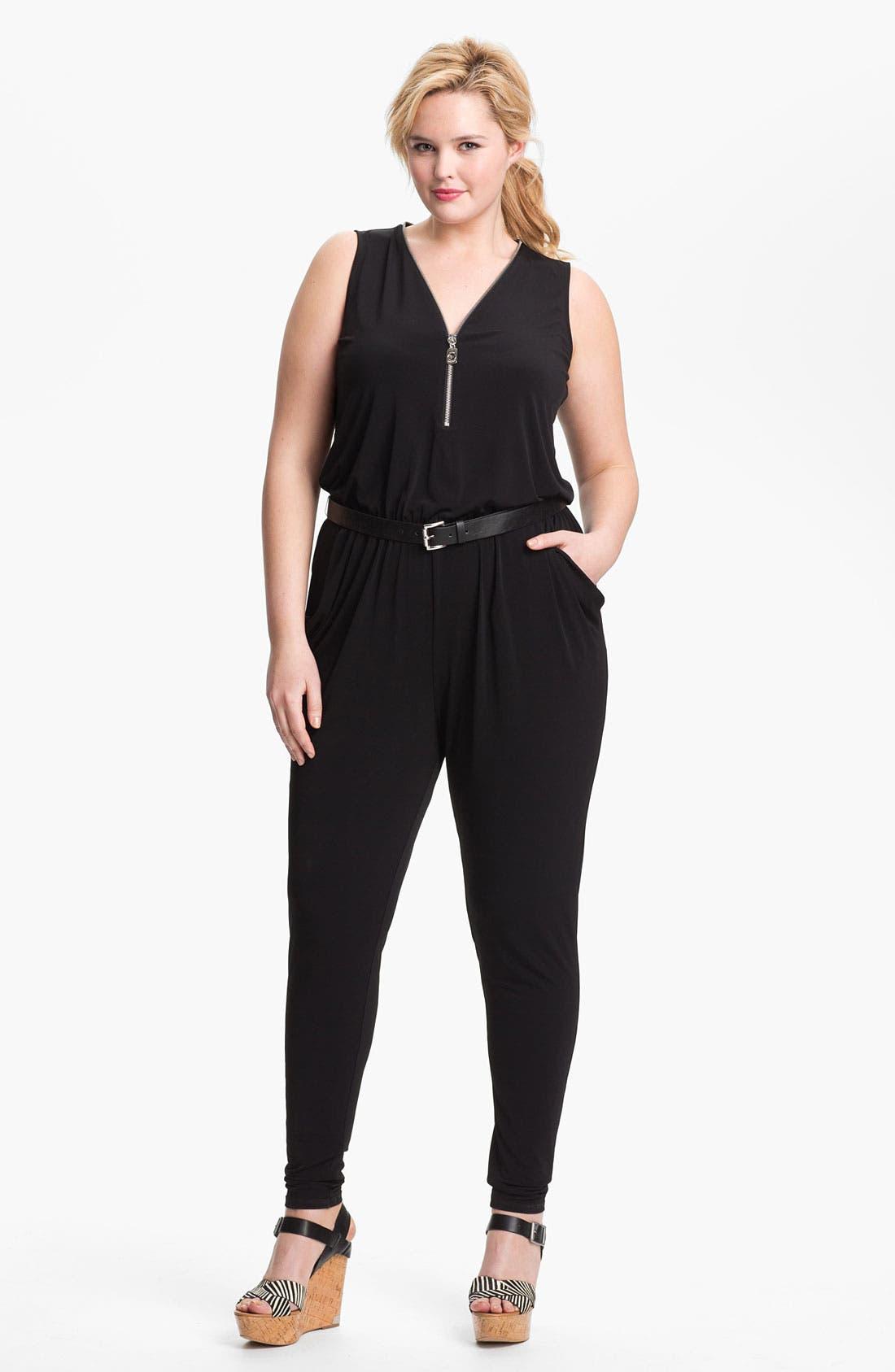 Main Image - MICHAEL Michael Kors Zip Front Jumpsuit (Plus) (Online Only)