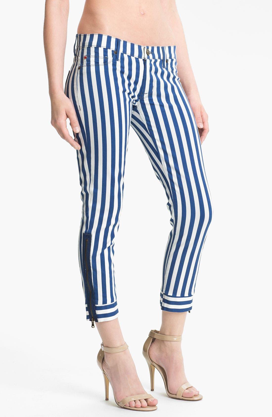 Main Image - Hudson Jeans Crop Super Skinny Jeans (Navy/White Stripe)