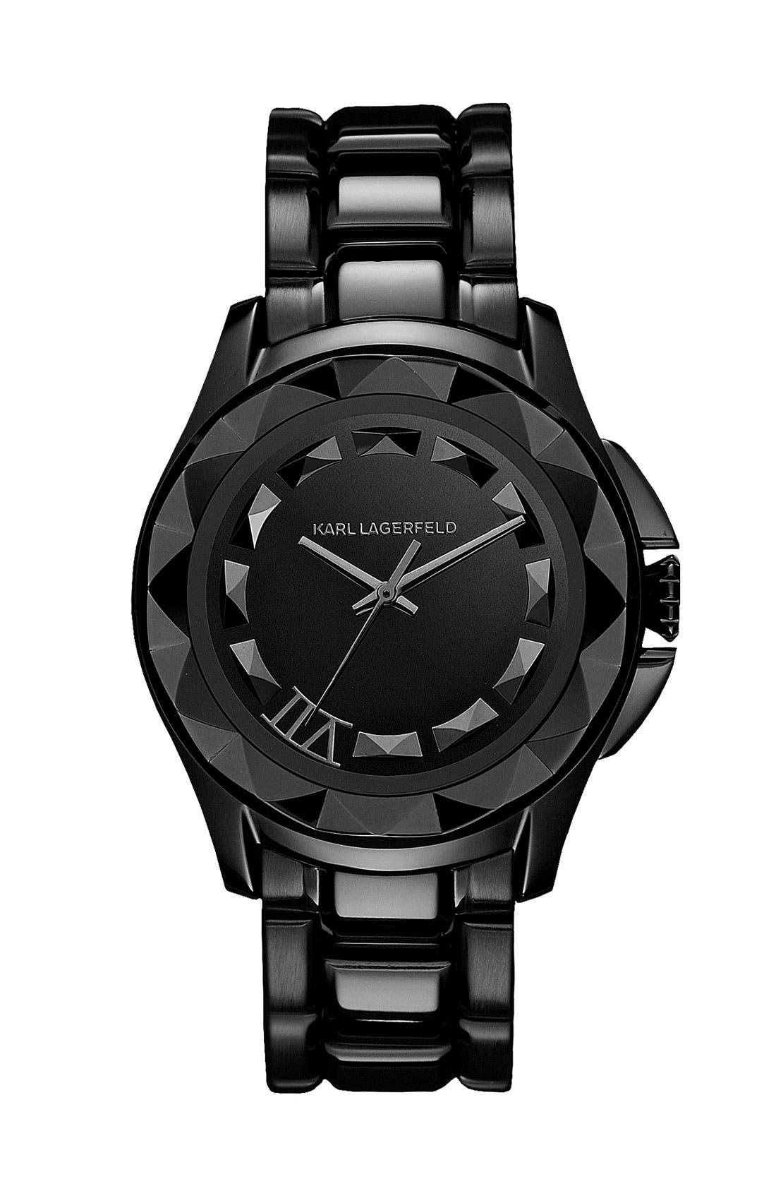 Main Image - KARL LAGERFELD '7' Faceted Bezel Bracelet Watch, 36mm (Nordstrom Online Exclusive)