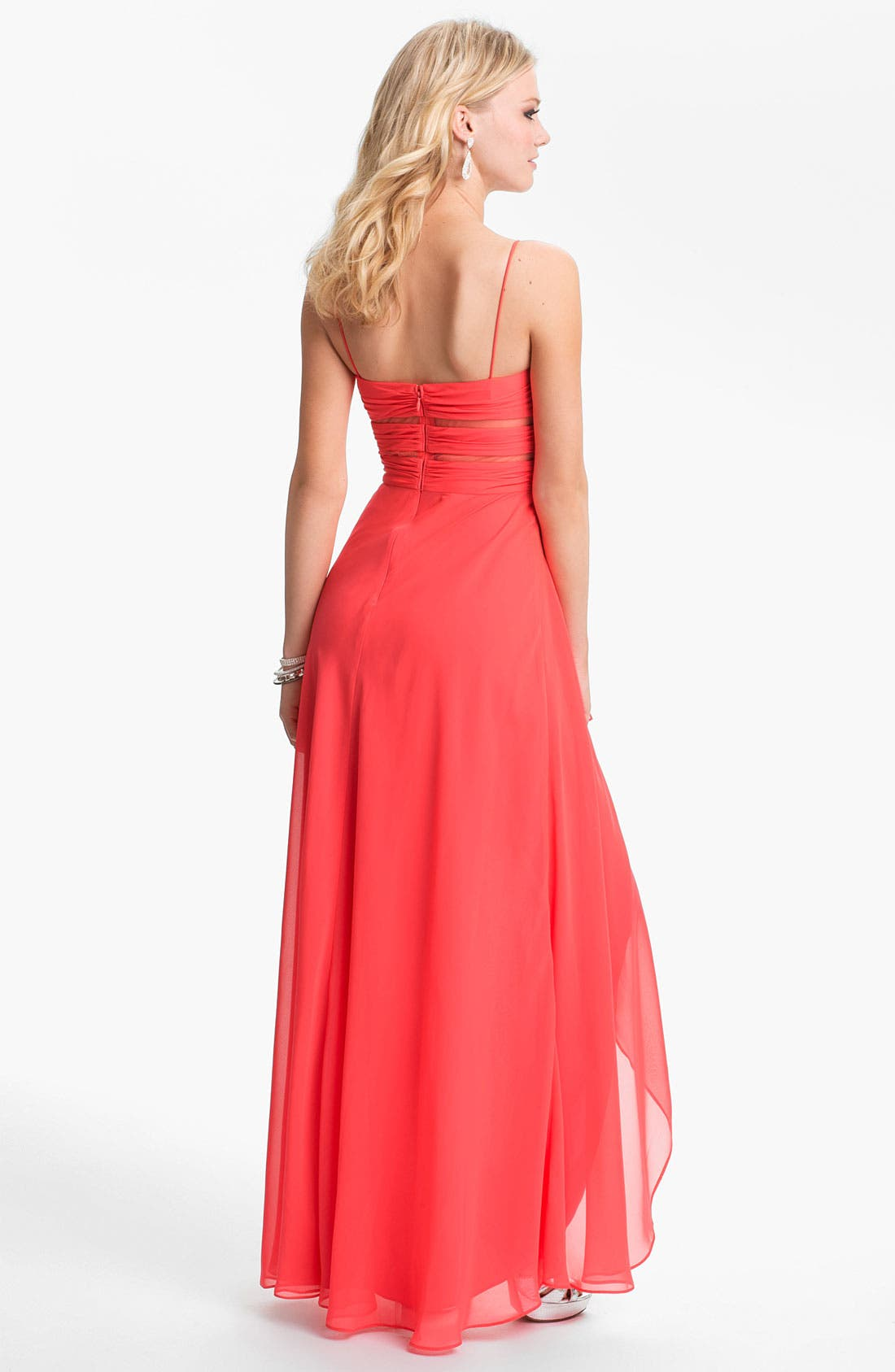 Alternate Image 2  - Hailey Logan Cutout High/Low Gown (Juniors) (Online Only)