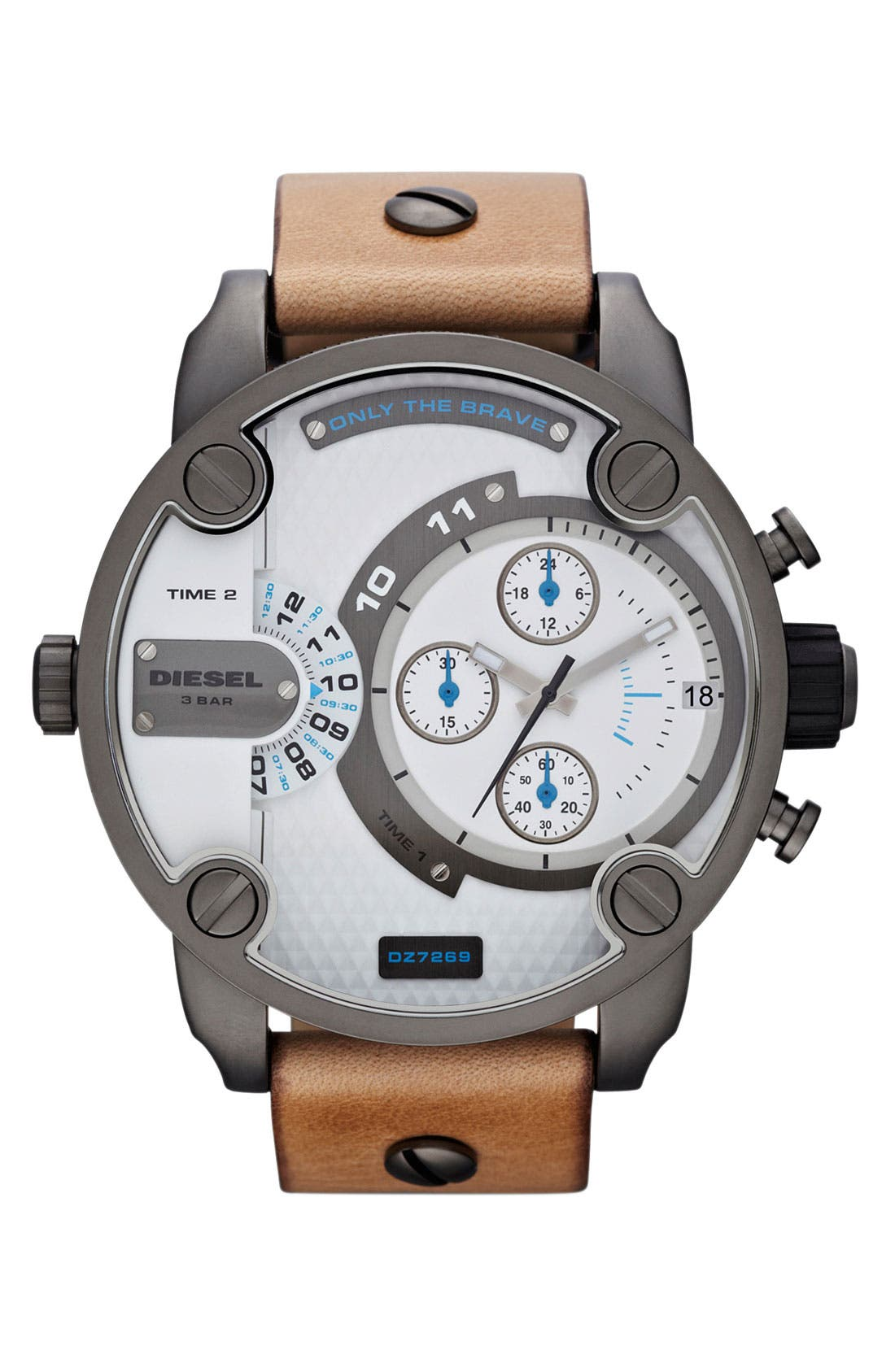 Main Image - DIESEL® 'Little Daddy' Chronograph Leather Strap Watch, 51mm
