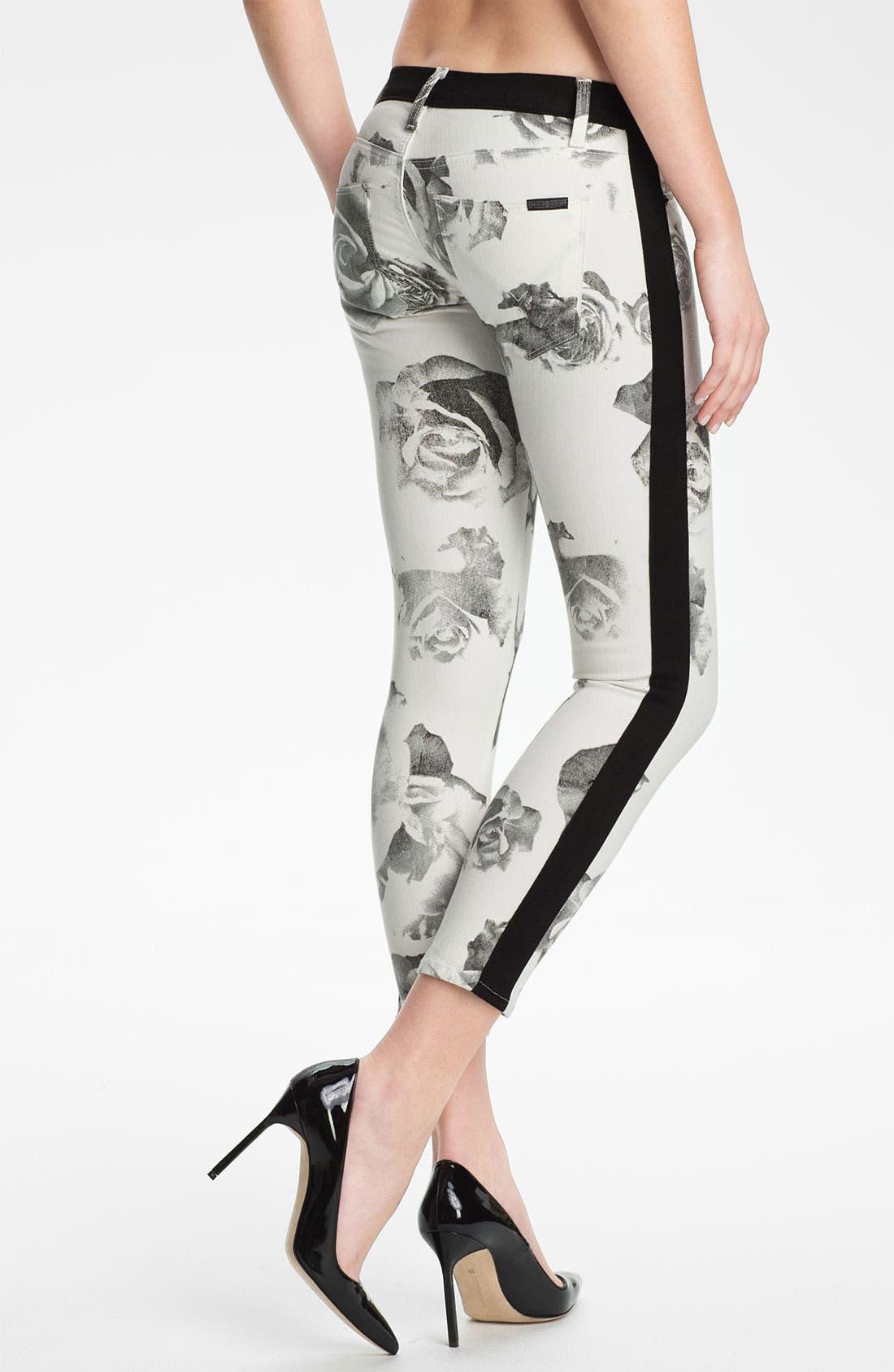 Alternate Image 2  - Hudson Jeans 'Leeloo' Colorblock Crop Skinny Jeans (Black/White Floral)