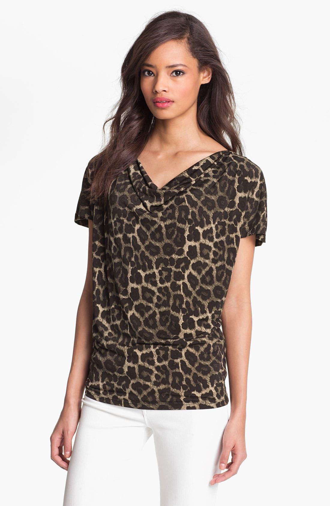 Alternate Image 1 Selected - MICHAEL Michael Kors 'Savannah' Leopard Print Top (Petite)