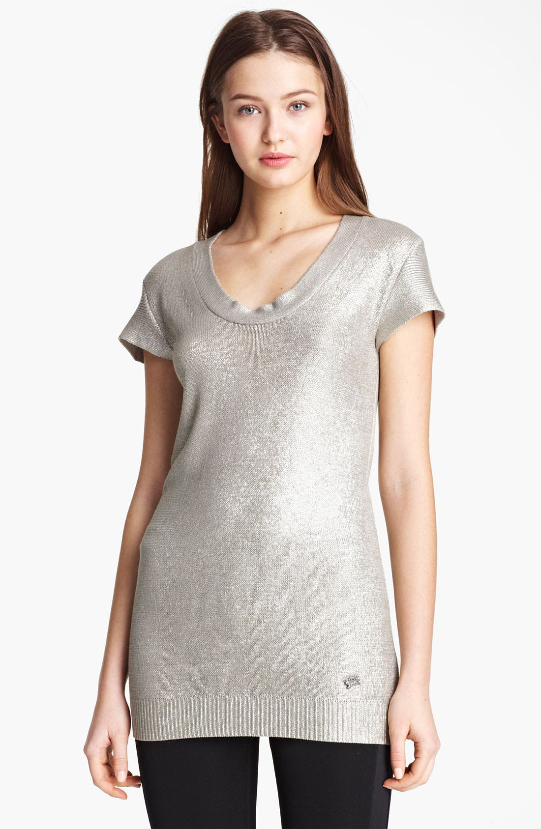 Alternate Image 1 Selected - Burberry London Metallic Silk Pullover