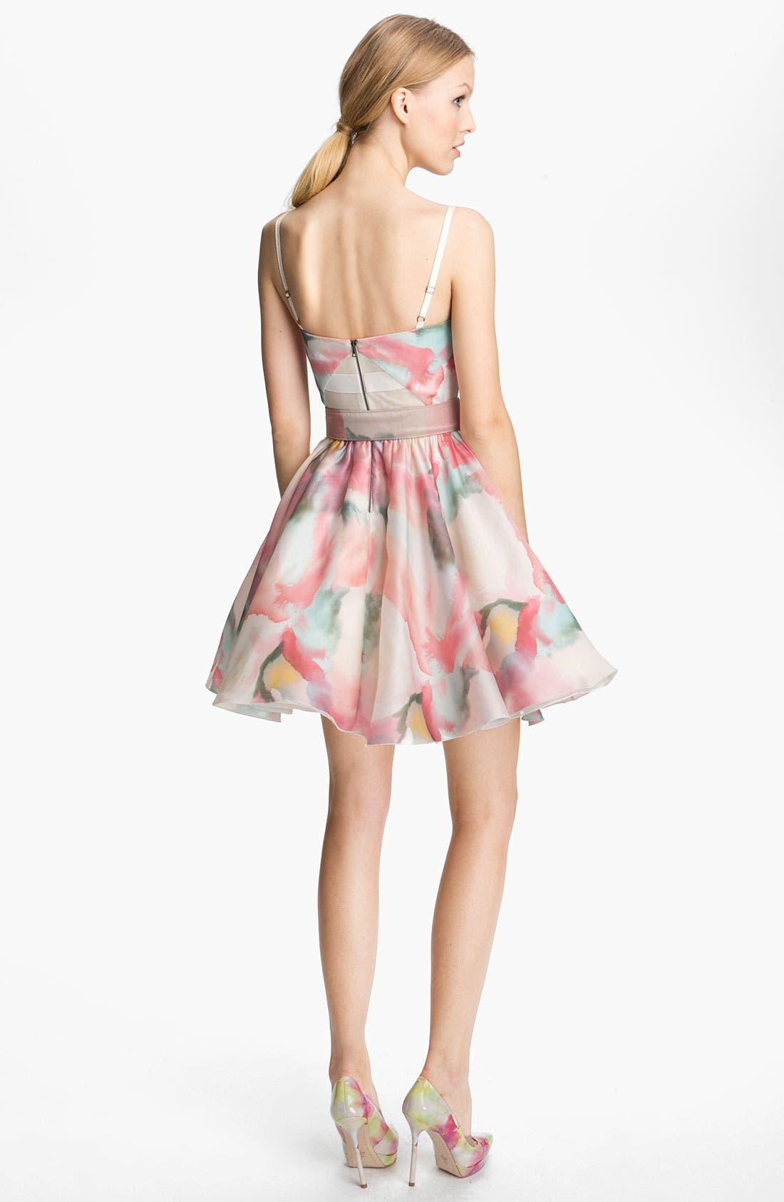 Alternate Image 2  - Alice + Olivia Belted Print Bustier Dress