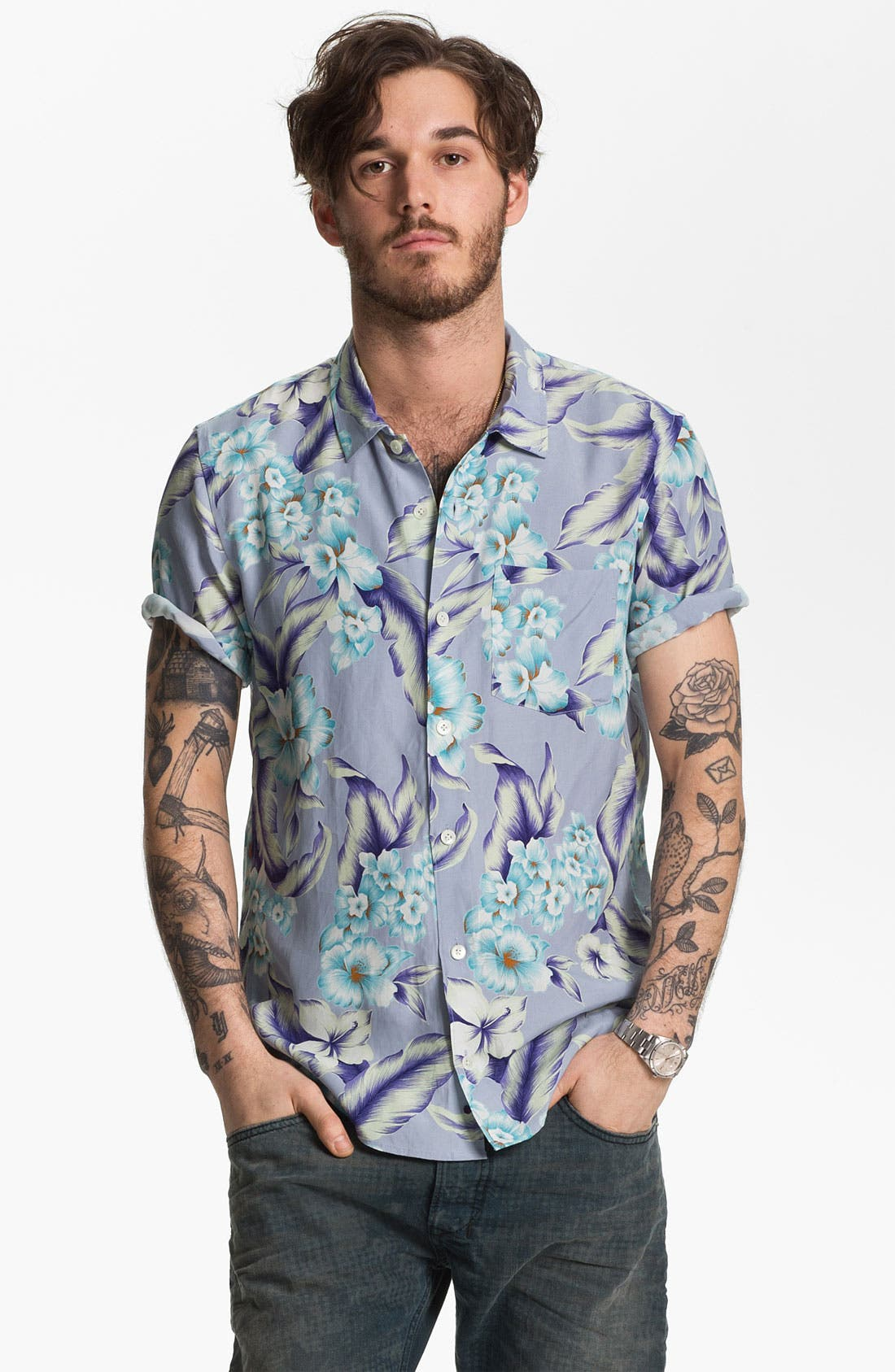 Main Image - Stussy Deluxe Aloha Print Cotton Shirt