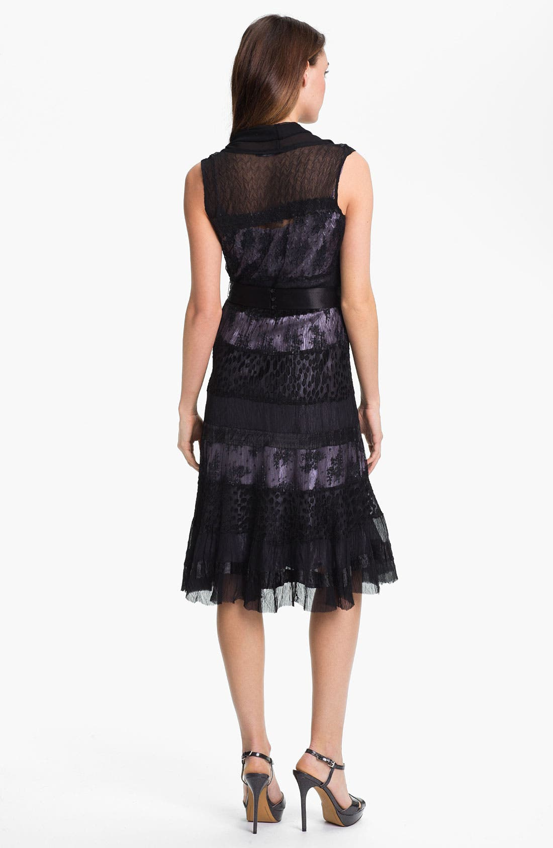 Alternate Image 2  - Black by Komarov Lace Panel A-Line Dress