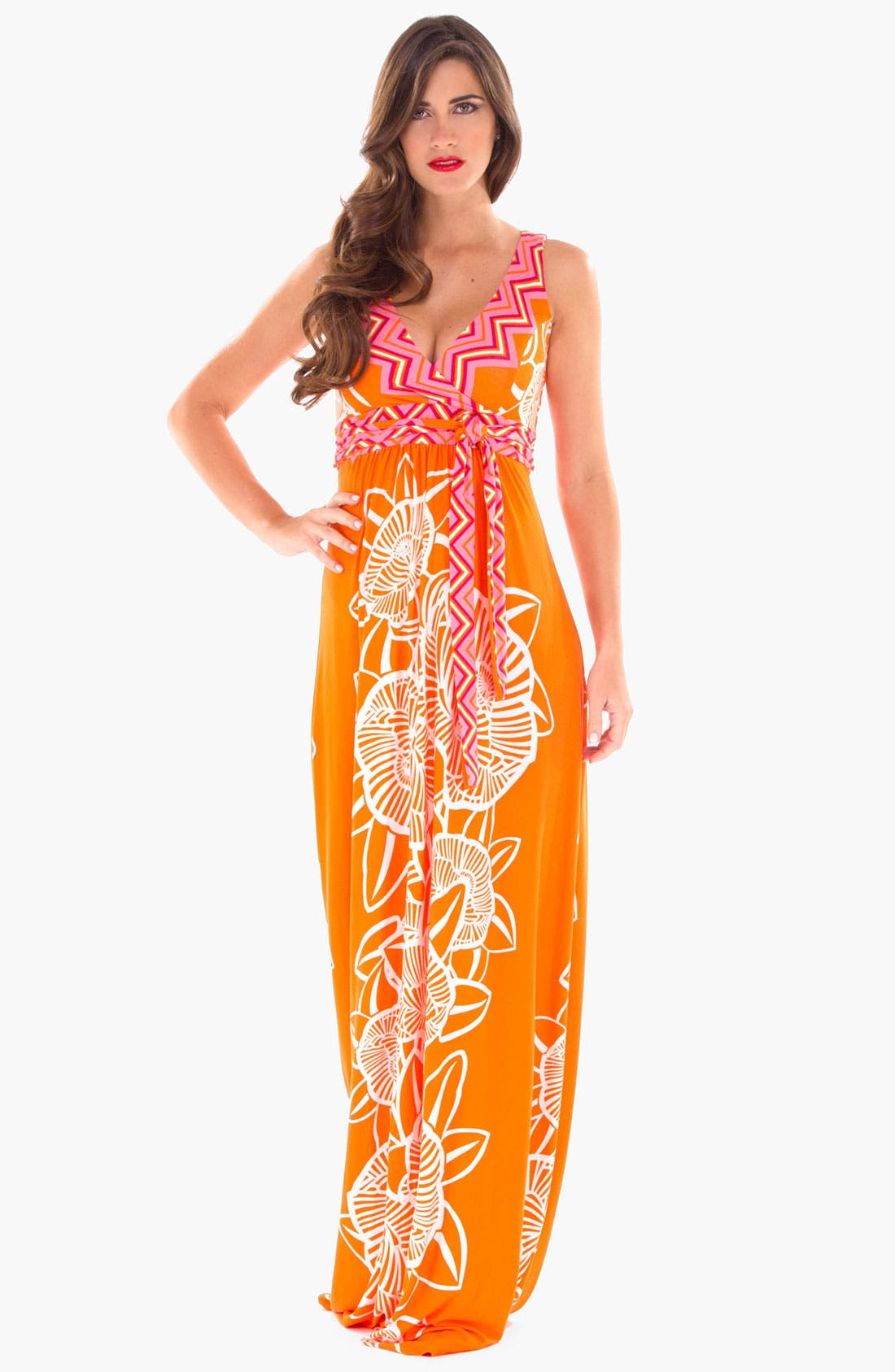 Alternate Image 2  - Olian Maternity Print Maxi Dress