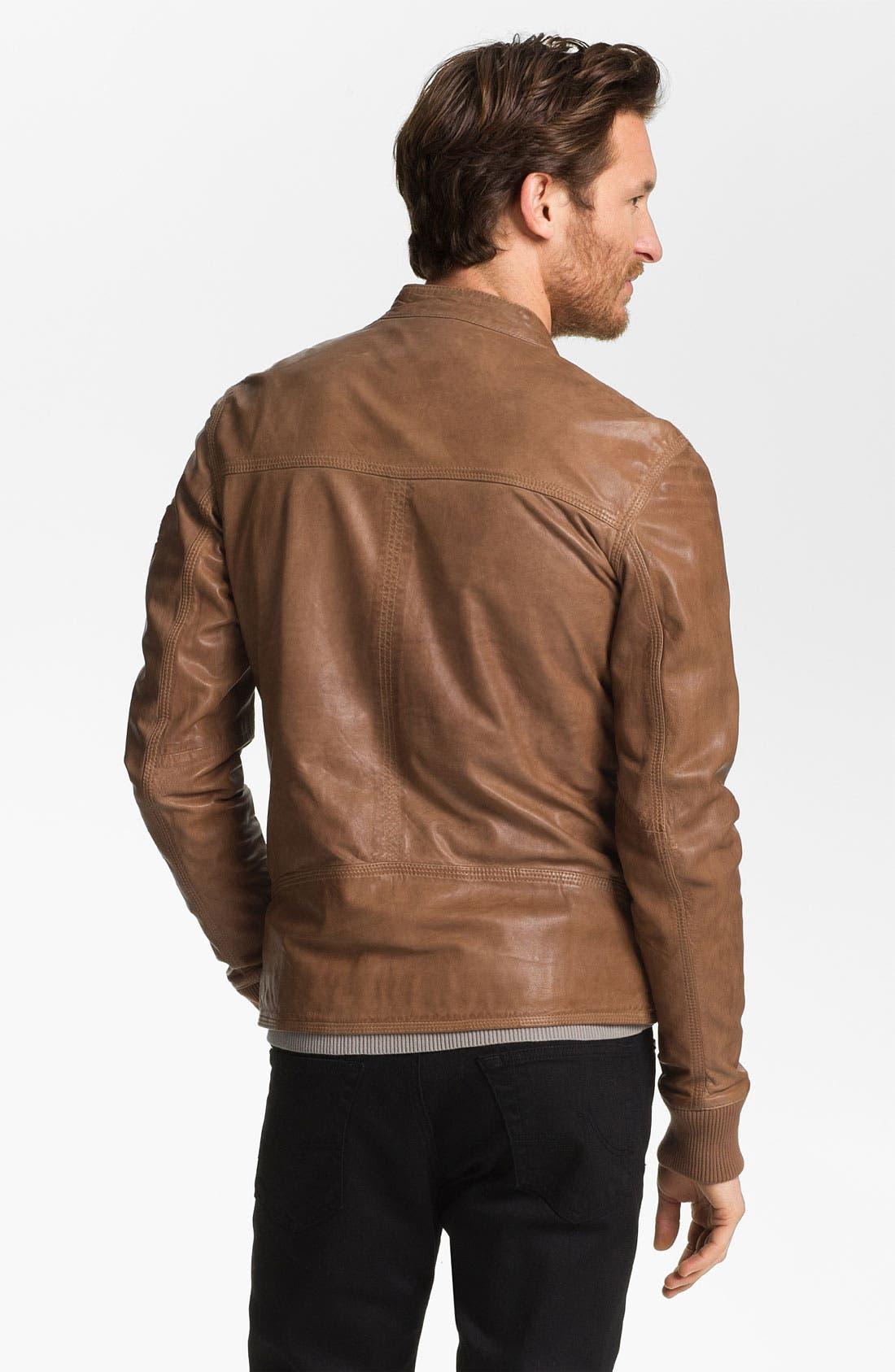 Alternate Image 2  - La Marque Lambskin Leather Biker Jacket