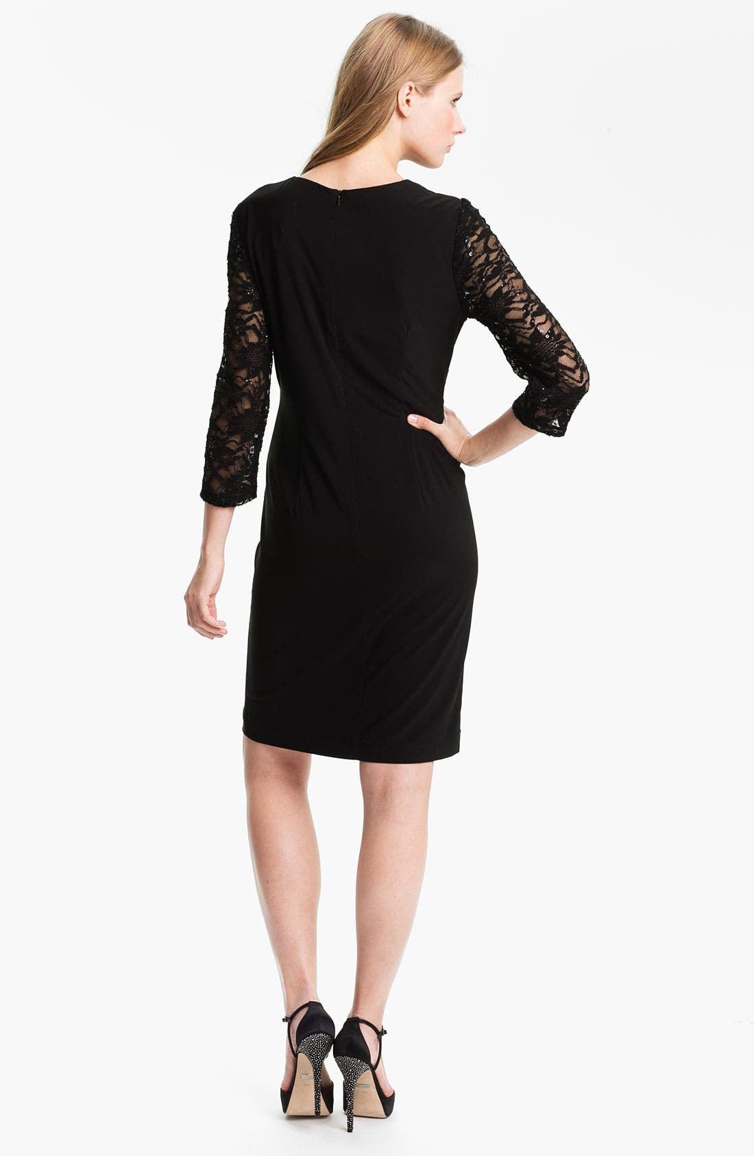 Alternate Image 2  - Alex Evenings Chiffon Detail Jersey Shift Dress (Petite)