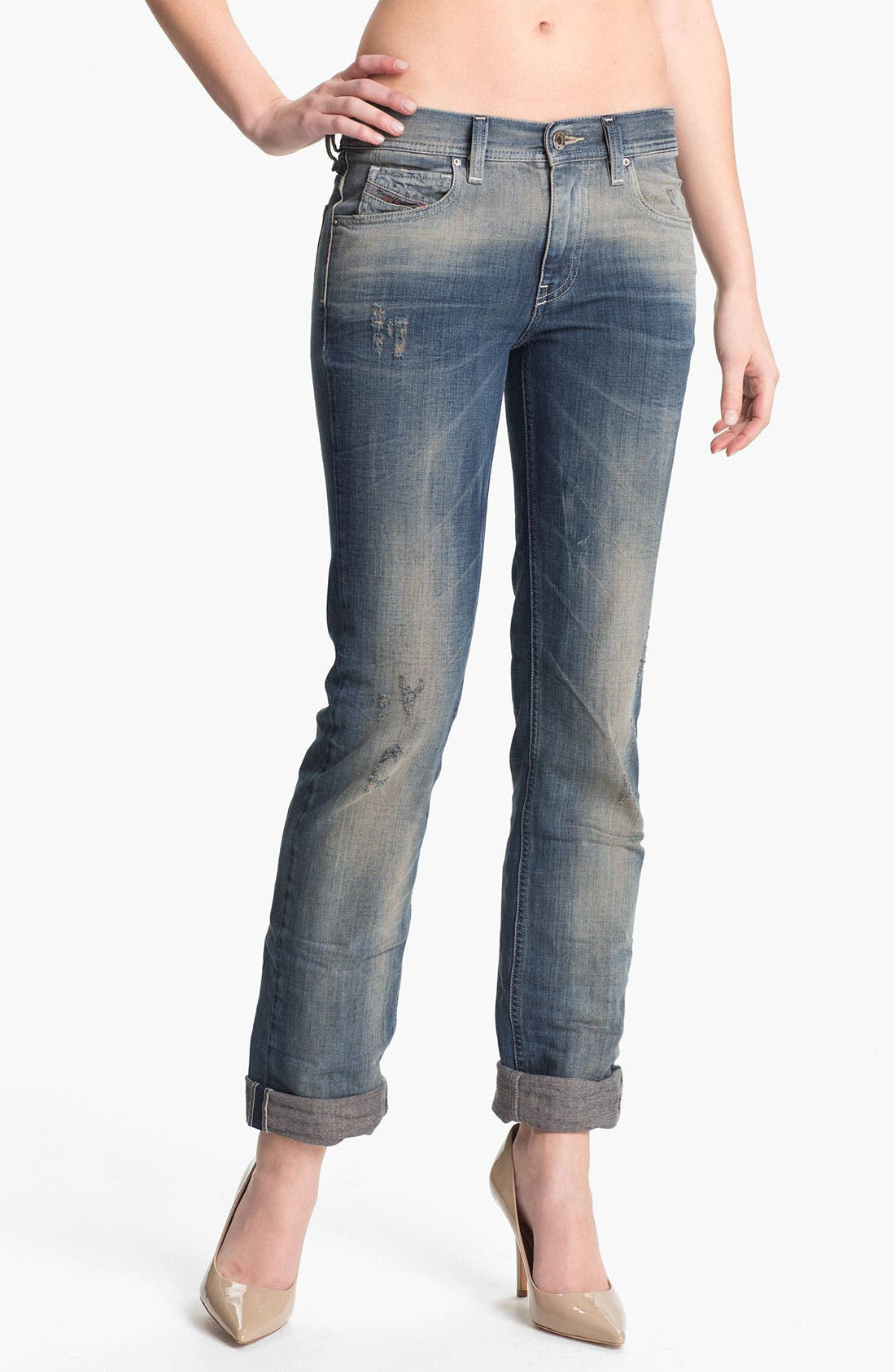Alternate Image 2  - DIESEL® 'Faithlegg' Distressed Denim Boyfriend Jeans (Denim Distressed)