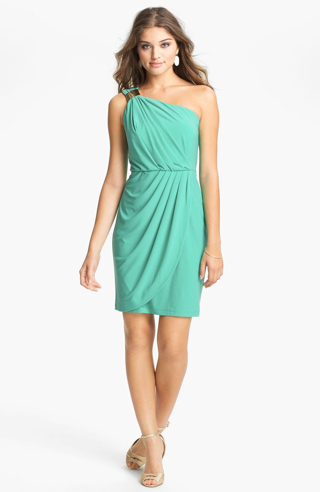 Main Image - Max & Cleo Embellished One Shoulder Dress