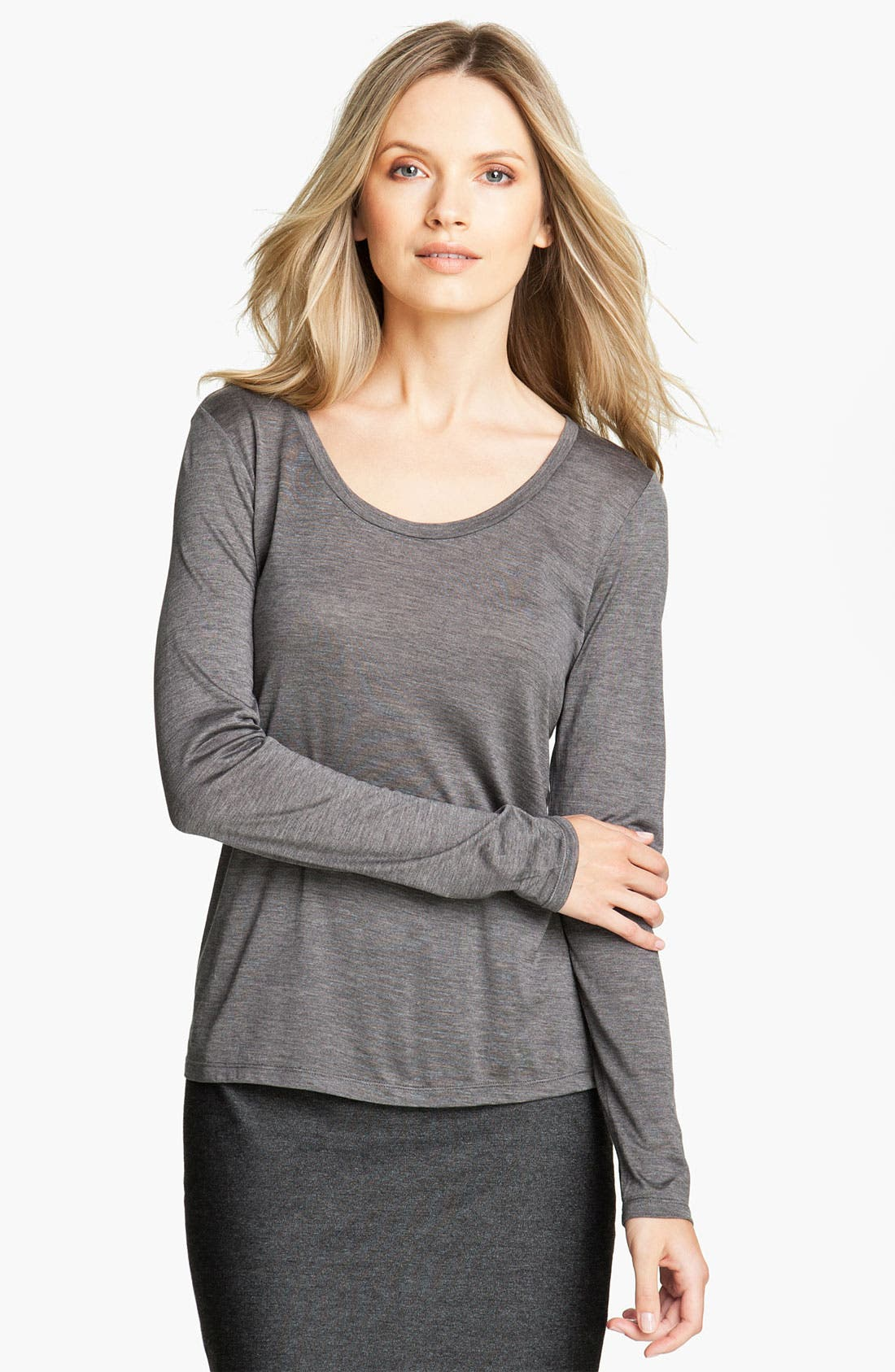 Alternate Image 1 Selected - Eileen Fisher U-Neck Tee (Petite)