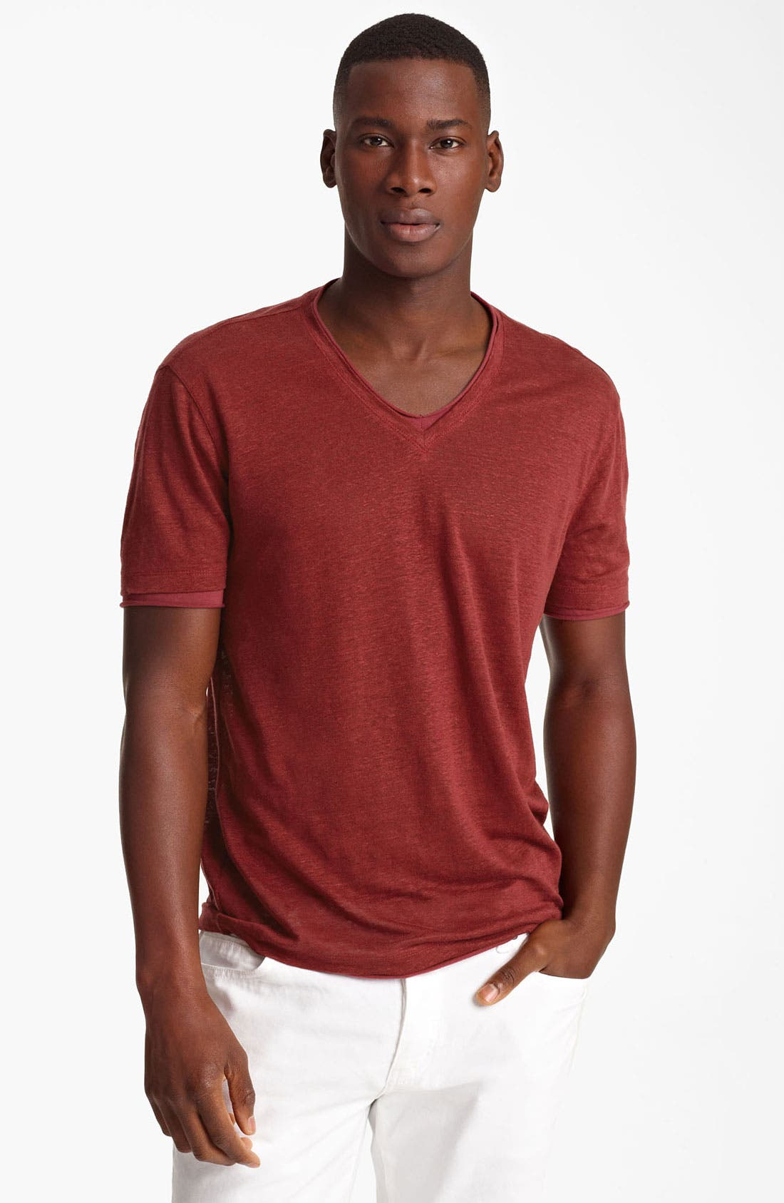 Main Image - John Varvatos Collection V-Neck Linen T-Shirt