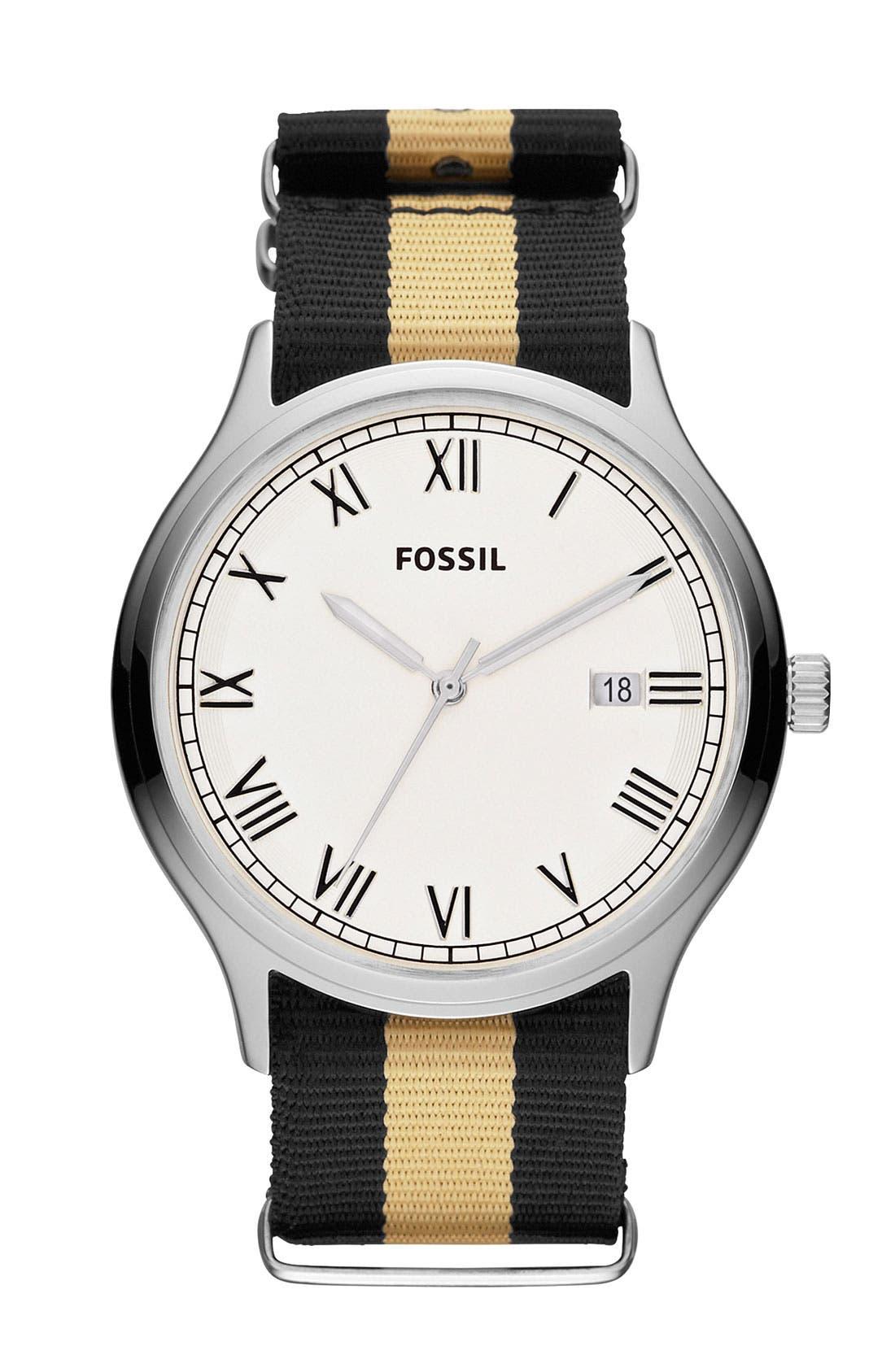 Main Image - Fossil 'Ansel' Nylon Strap Watch, 41mm