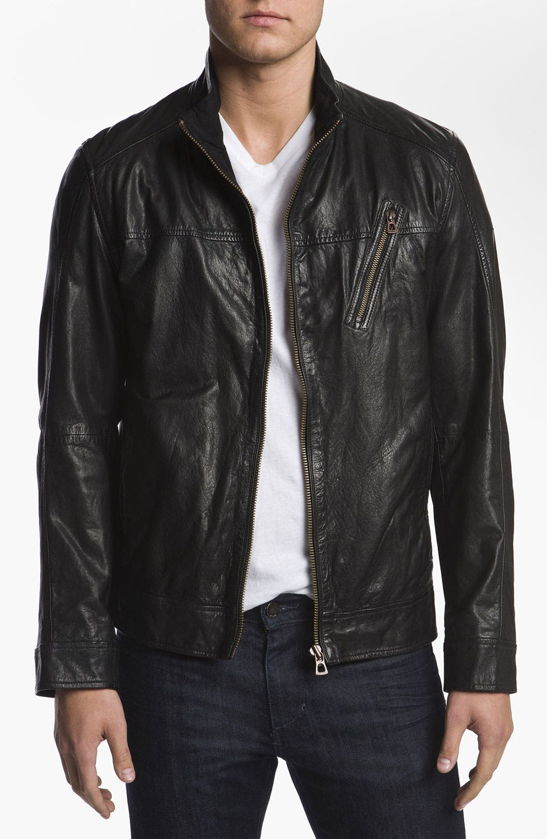 Alternate Image 1 Selected - BOSS Orange 'Jips1' Leather Jacket