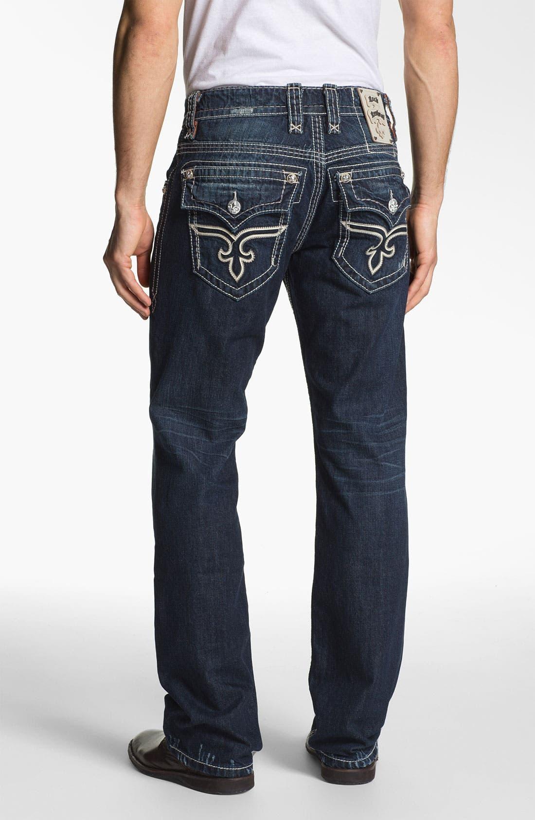 Alternate Image 1 Selected - Rock Revival 'Alec' Straight Leg Jeans (Dark Blue)