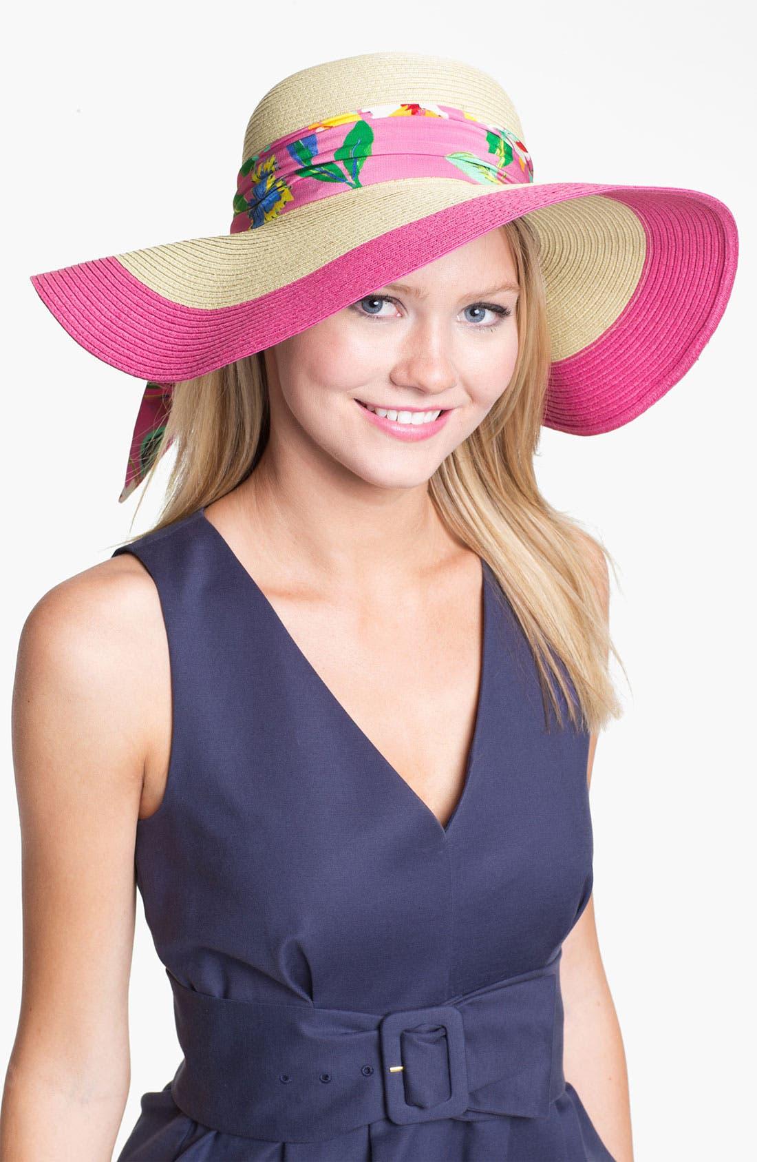 Alternate Image 1 Selected - kate spade new york colorblock woven sun hat