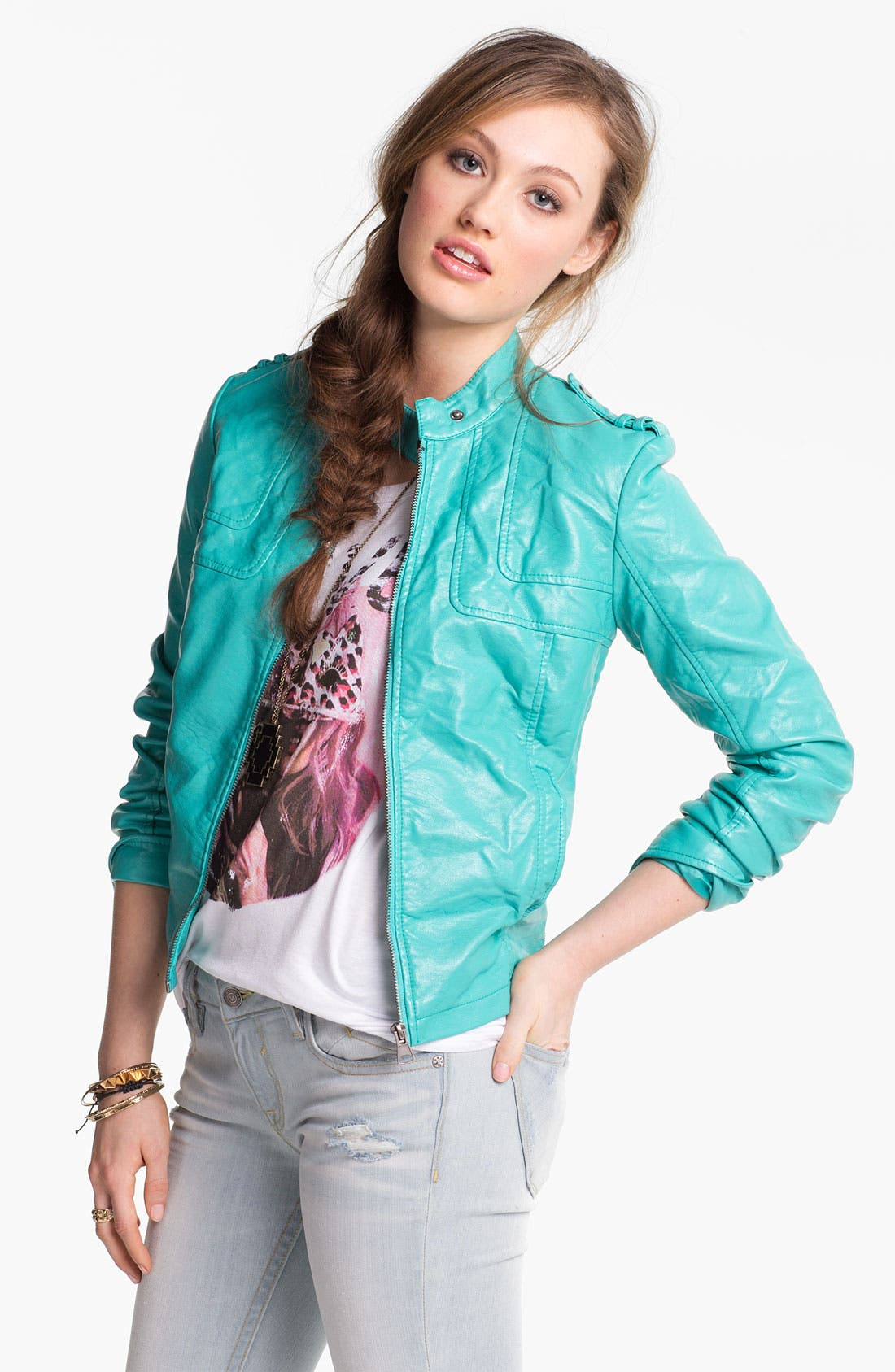 Alternate Image 1 Selected - Collection B Faux Leather Moto Jacket (Juniors)