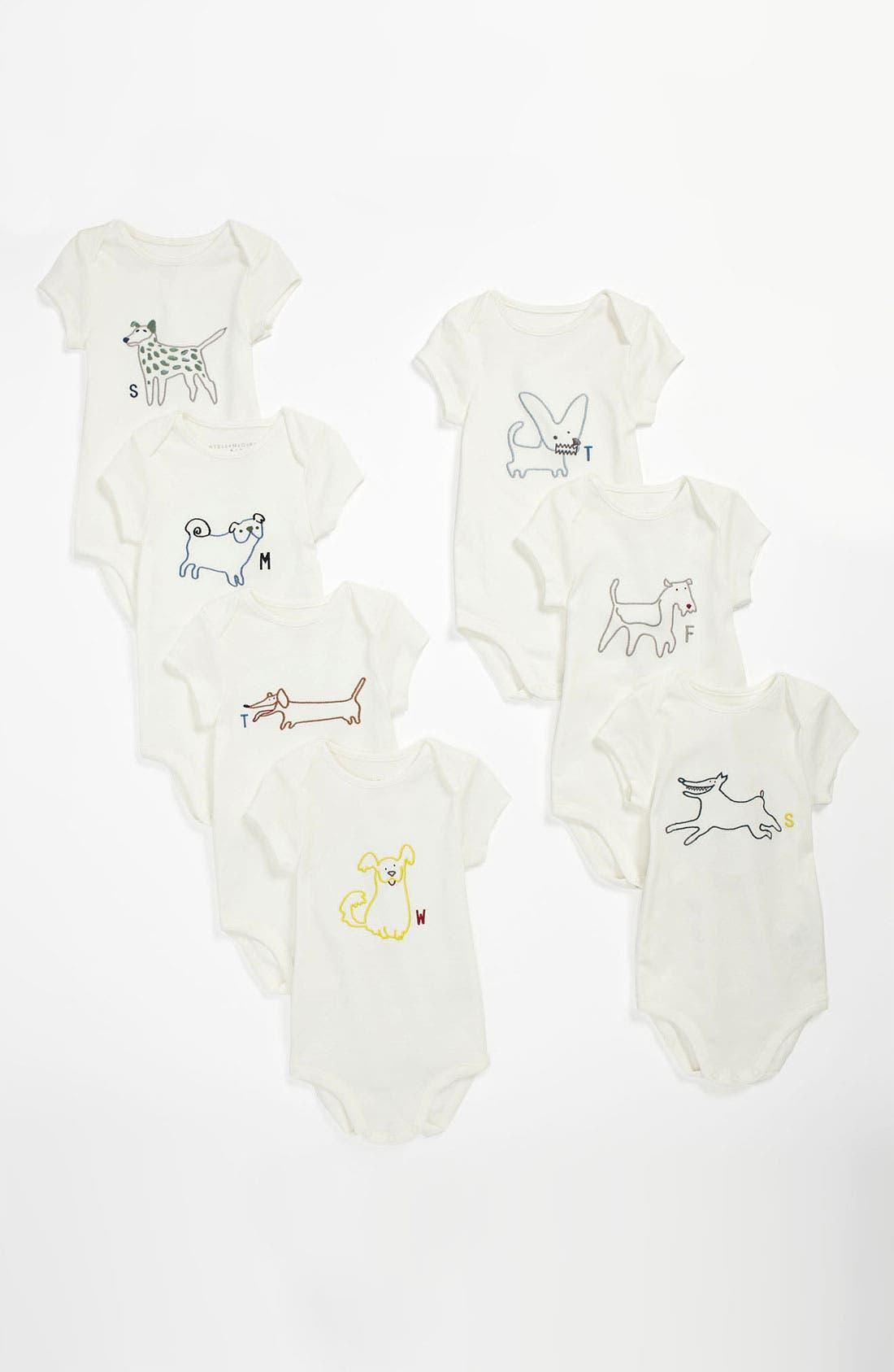Main Image - Stella McCartney 'Sammie Baby' Bodysuit (Set of 7) (Infant)