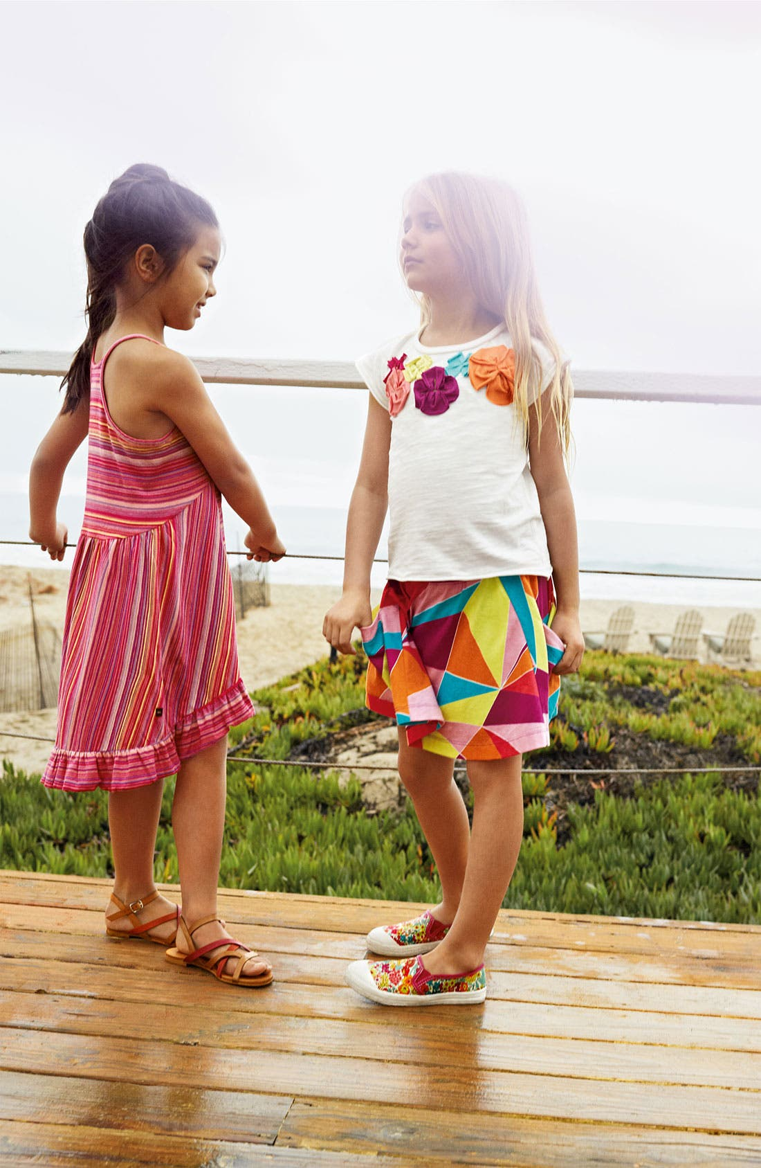Main Image - Tea Collection Dress & Peek Sandal (Little Girls & Big Girls)