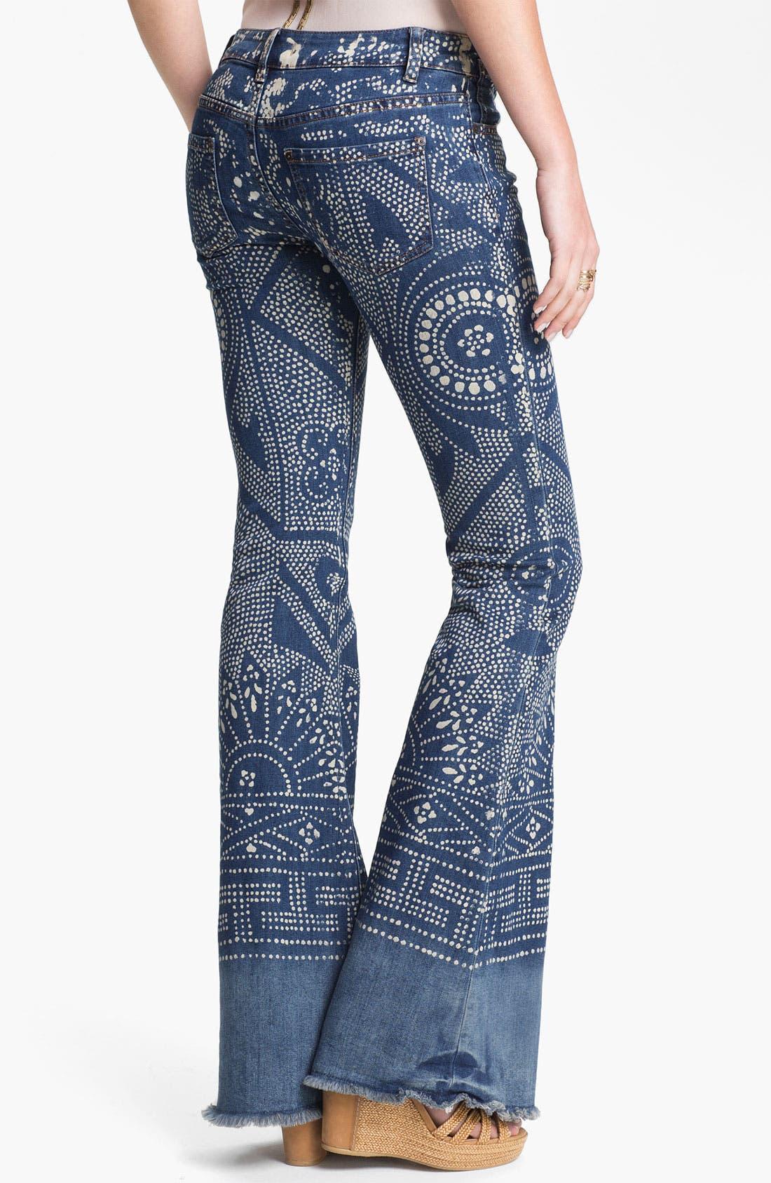 Alternate Image 2  - Free People 'Bali' Print Flare Leg Jeans (Malaya)