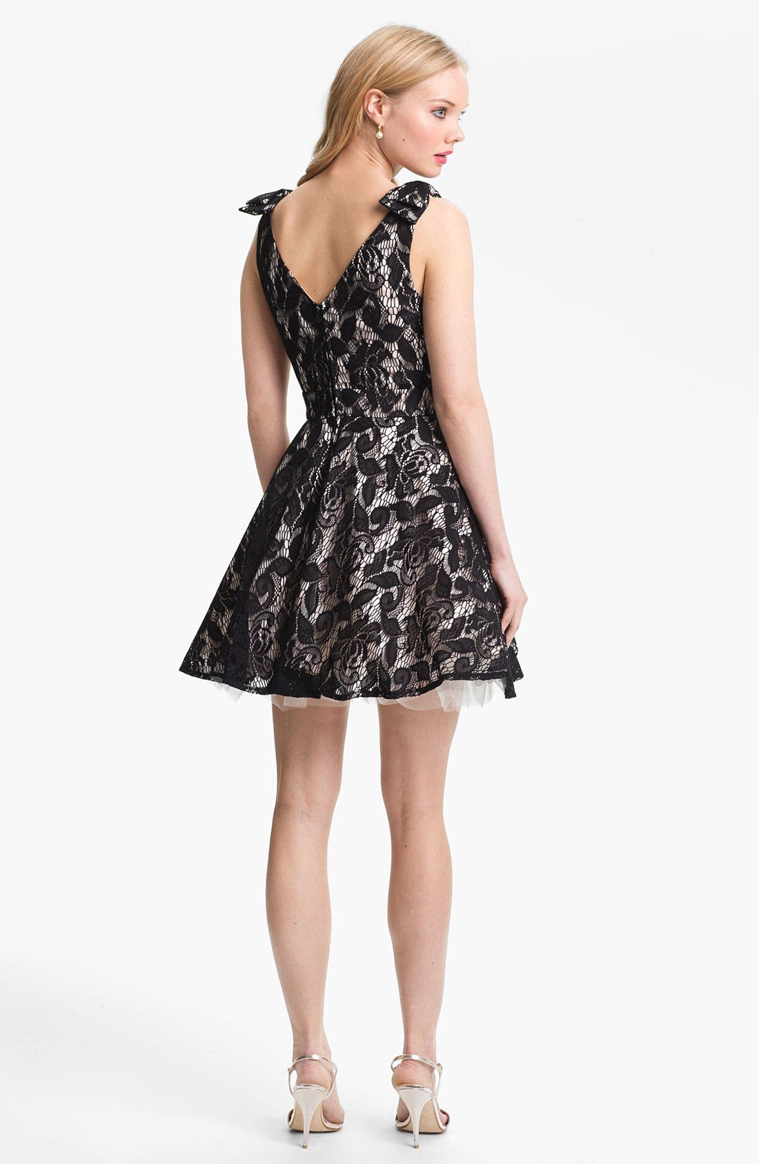Alternate Image 2  - Way-In Lace Overlay Skater Dress (Juniors)