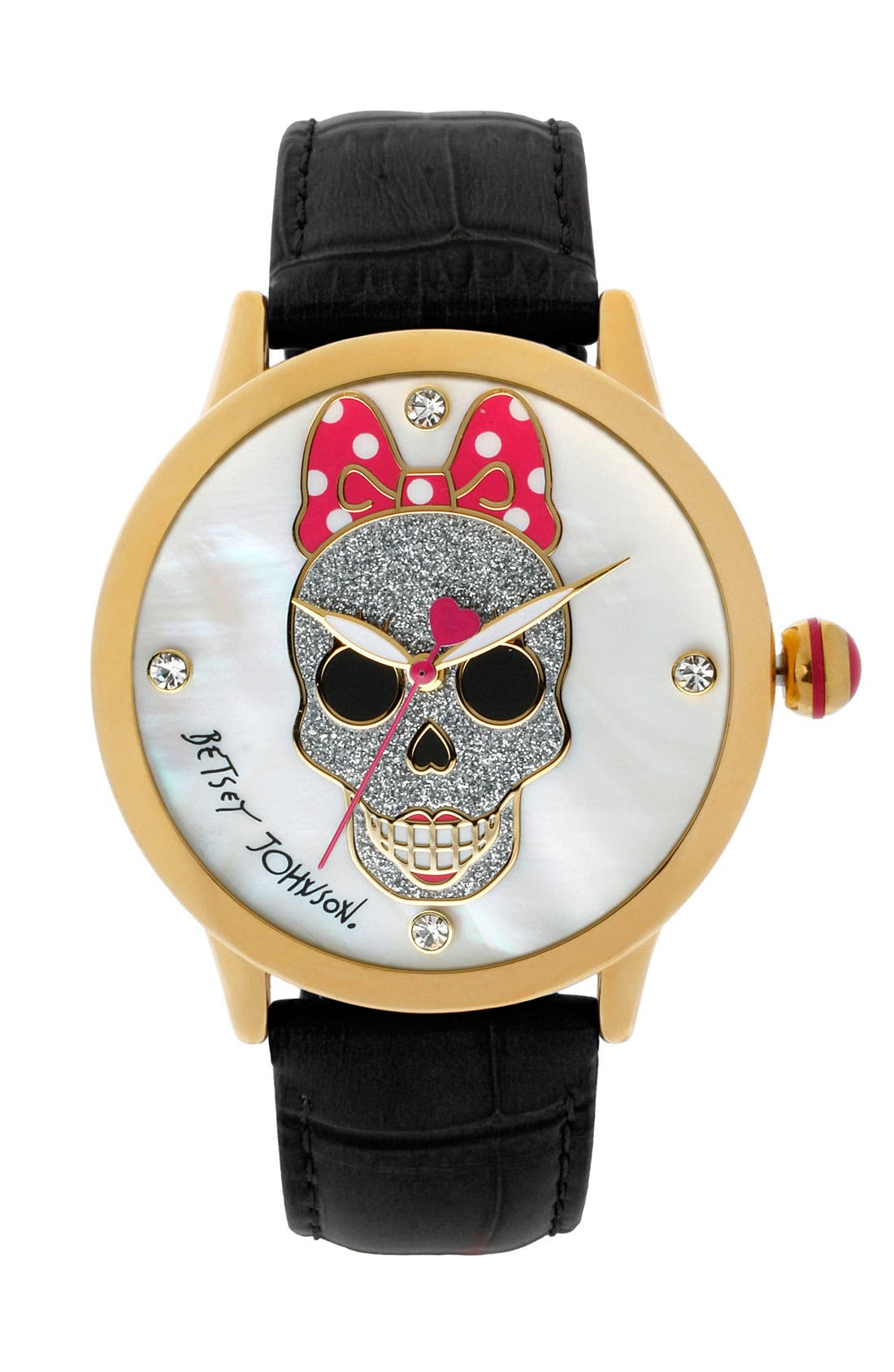 Main Image - Betsey Johnson Skull Dial Leather Strap Watch, 41mm