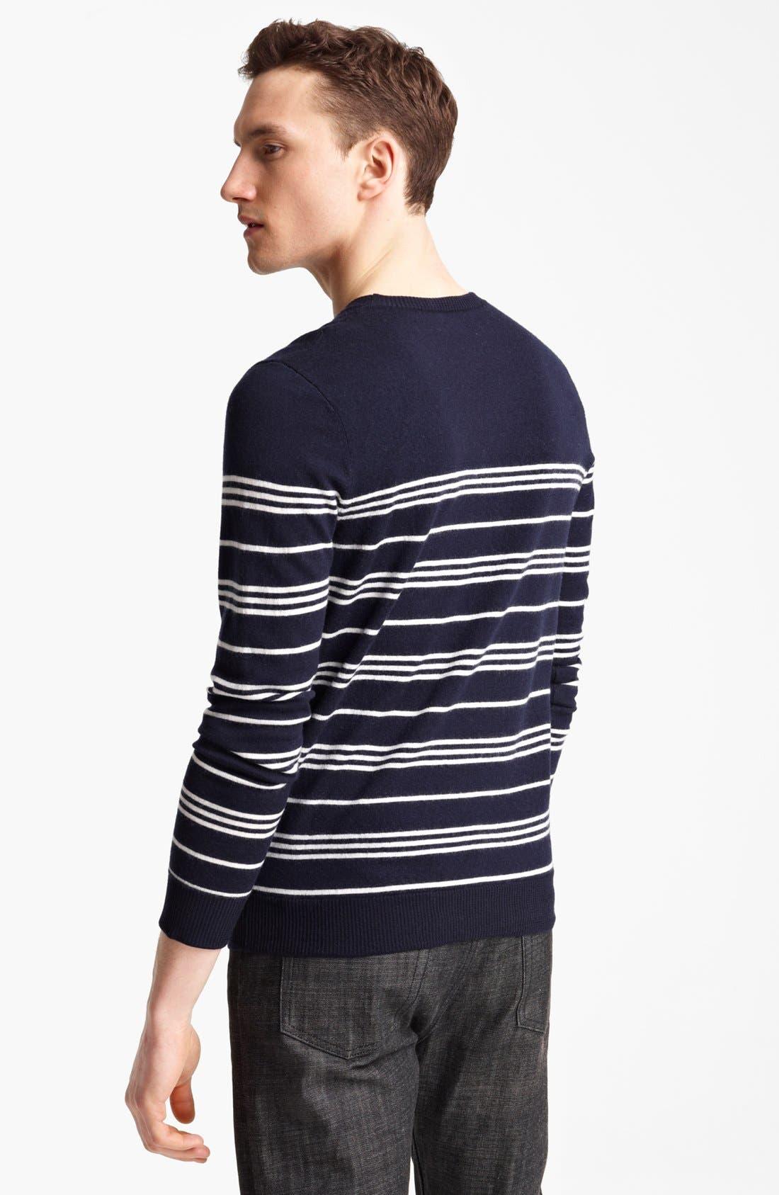 Alternate Image 2  - A.P.C. Stripe Crewneck Wool Sweater