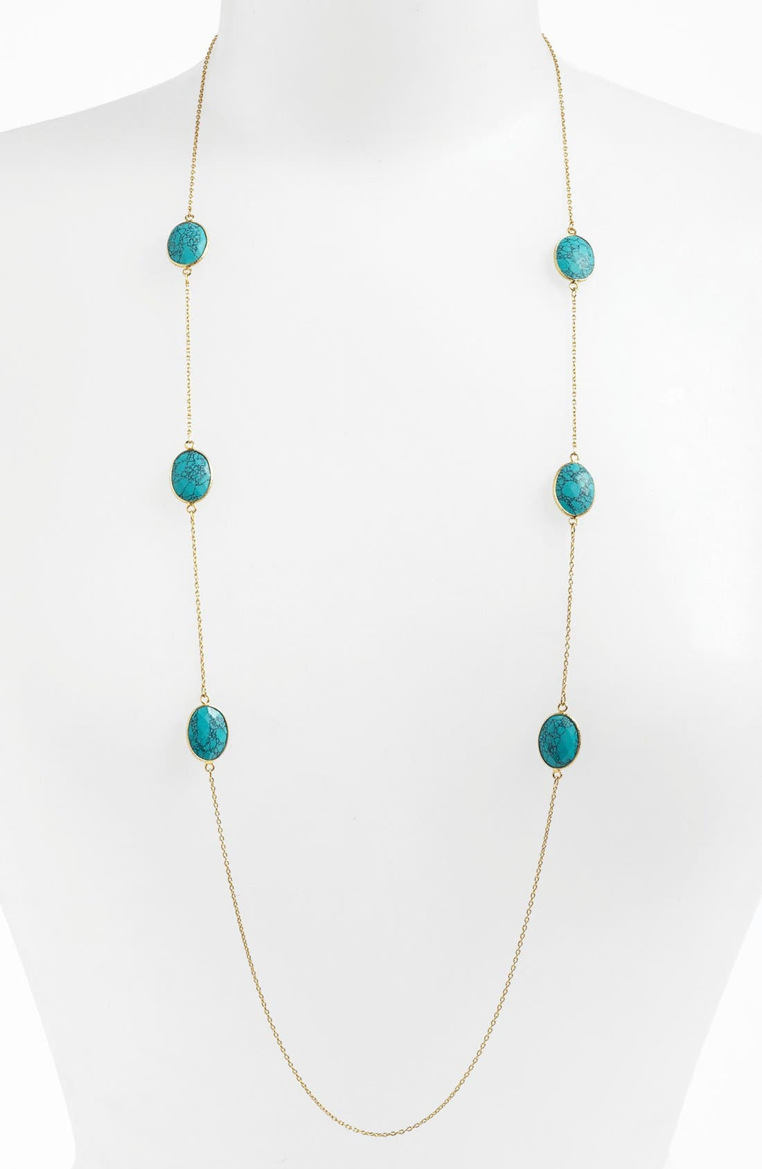 Alternate Image 1 Selected - Argento Vivo 'Bauble Bar' Long Oval Stone Station Necklace (Nordstrom Exclusive)