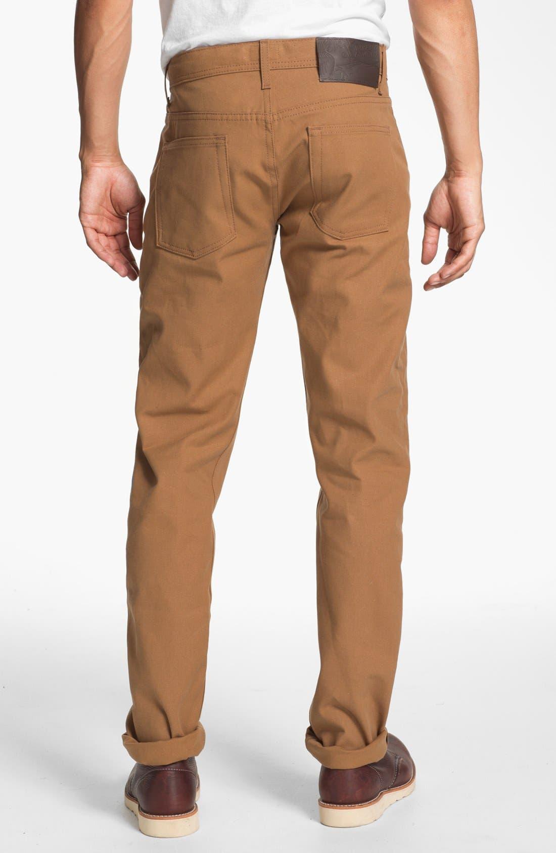 Alternate Image 2  - Naked & Famous Denim Weird Guy Slim Tapered Leg Selvedge Jeans (Vintage Brown Khaki)